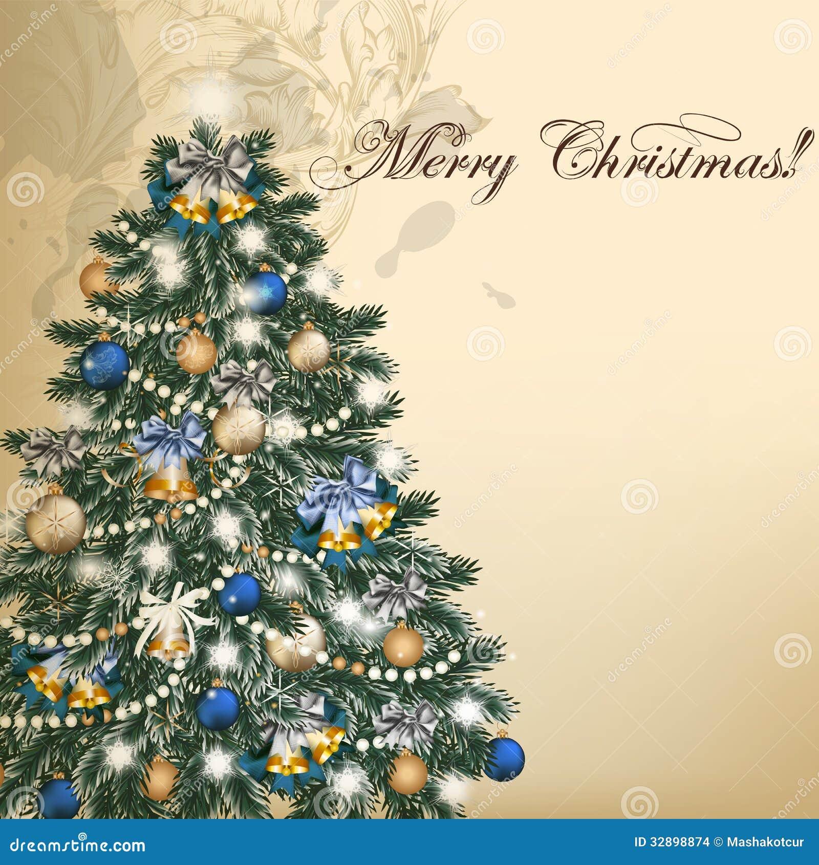 Alberi Di Natale Per Auguri.Cartolina D Auguri D Annata Di Vettore Di Natale Con L Albero Di Natale Illustrazione Vettoriale Illustrazione Di Evergreen Decorativo 32898874