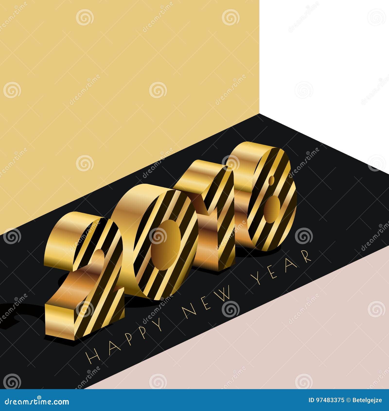 Cartolina d auguri 2018 del buon anno con i numeri dorati nello stile isometrico 3d Fondo astratto di festa
