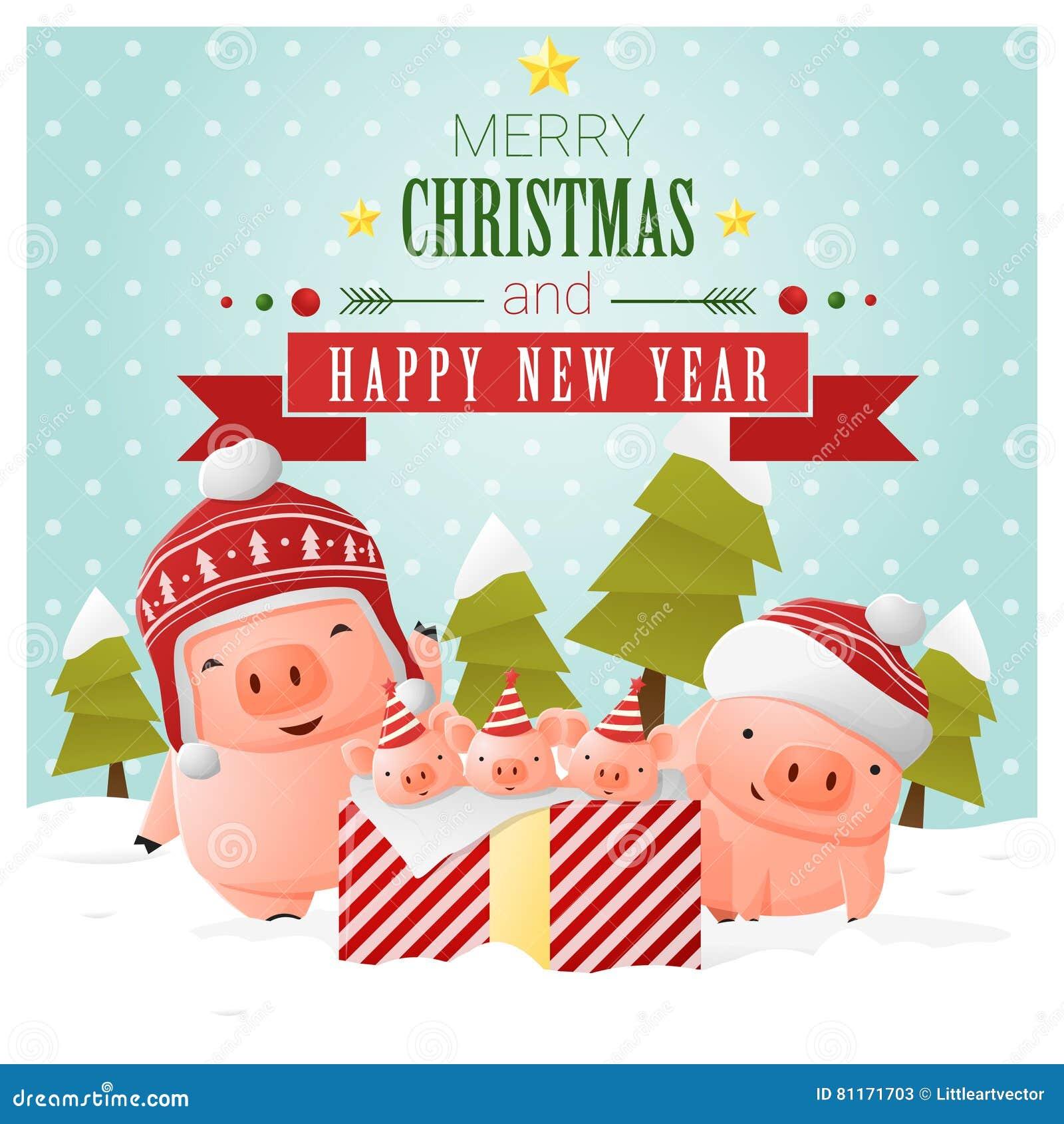 Auguri Di Natale Per La Famiglia.Cartolina D Auguri Del Buon Anno E Di Buon Natale Con La Famiglia