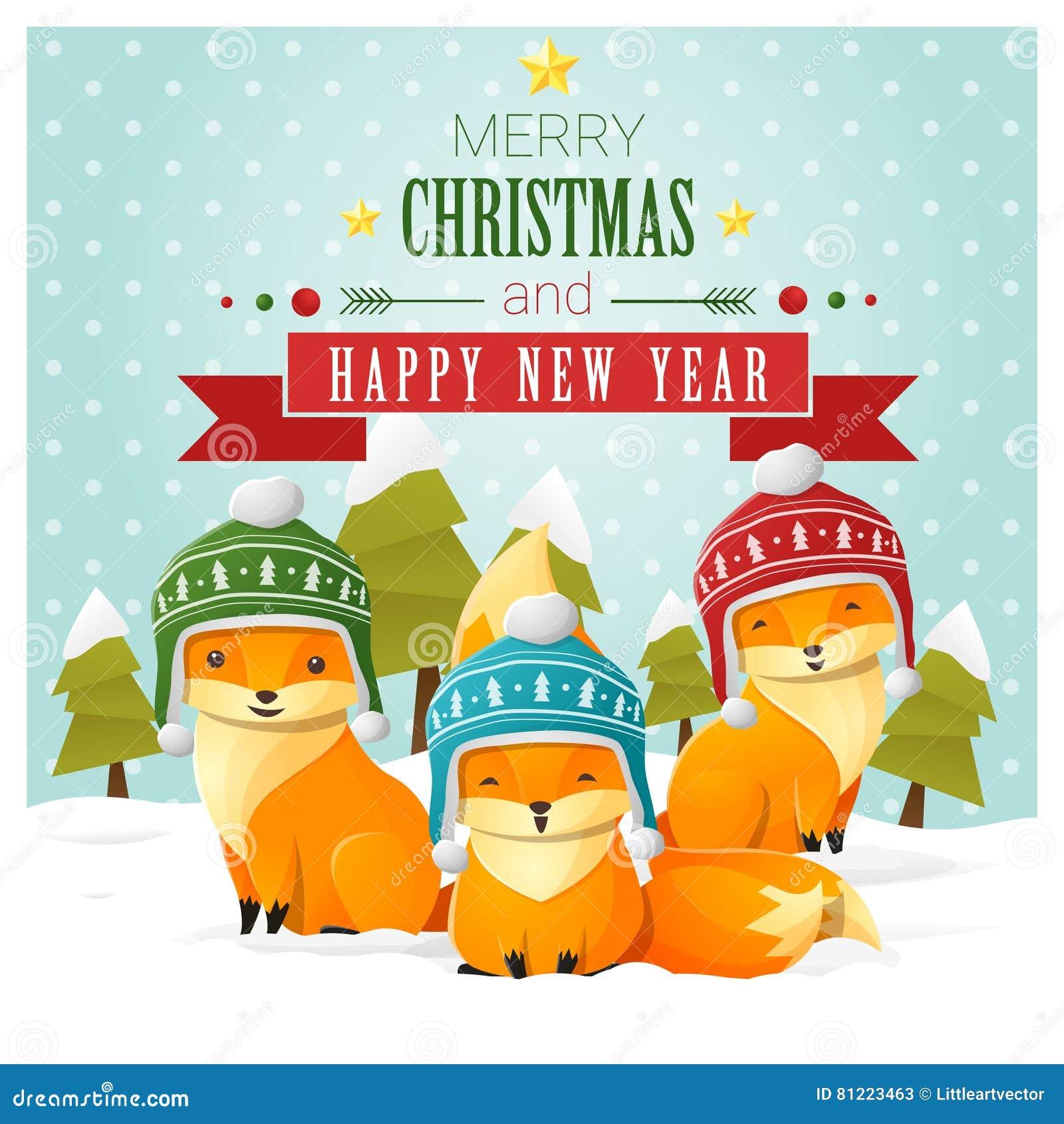 Buon Natale Famiglia.Cartolina D Auguri Del Buon Anno E Di Buon Natale Con La Famiglia