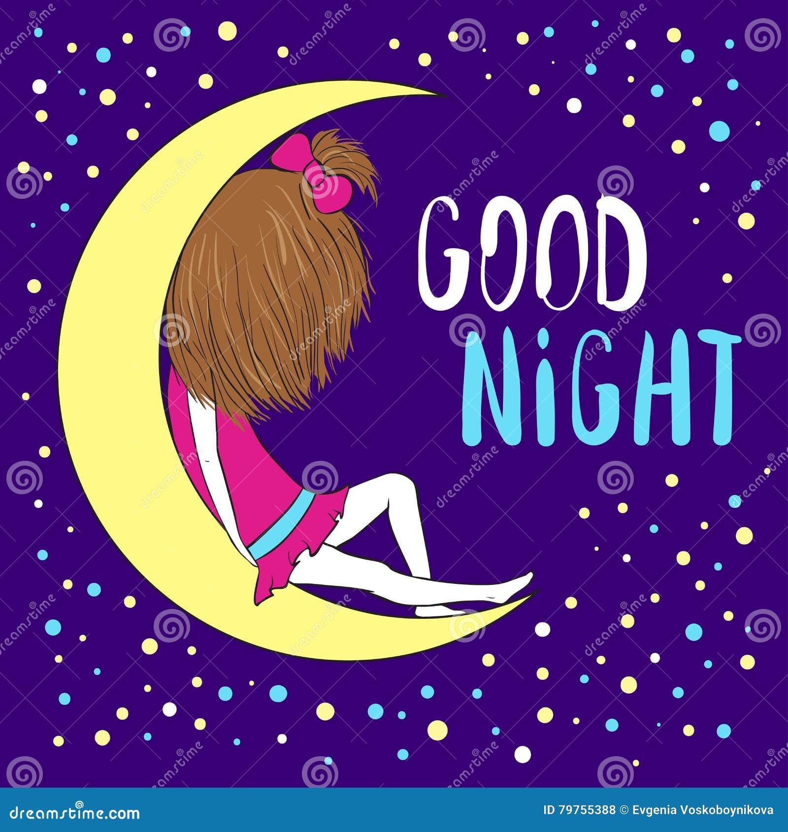 Cartolina D Auguri Della Buona Notte Illustrazione Di Stock