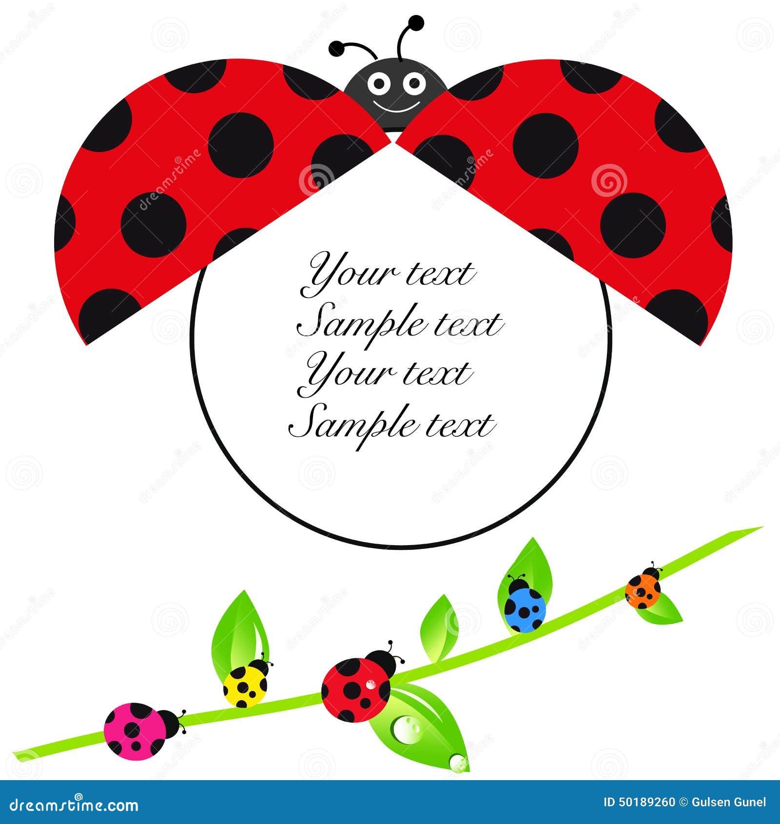 Cartolina Dauguri Della Doccia Di Bambino Di Ladybird Con La