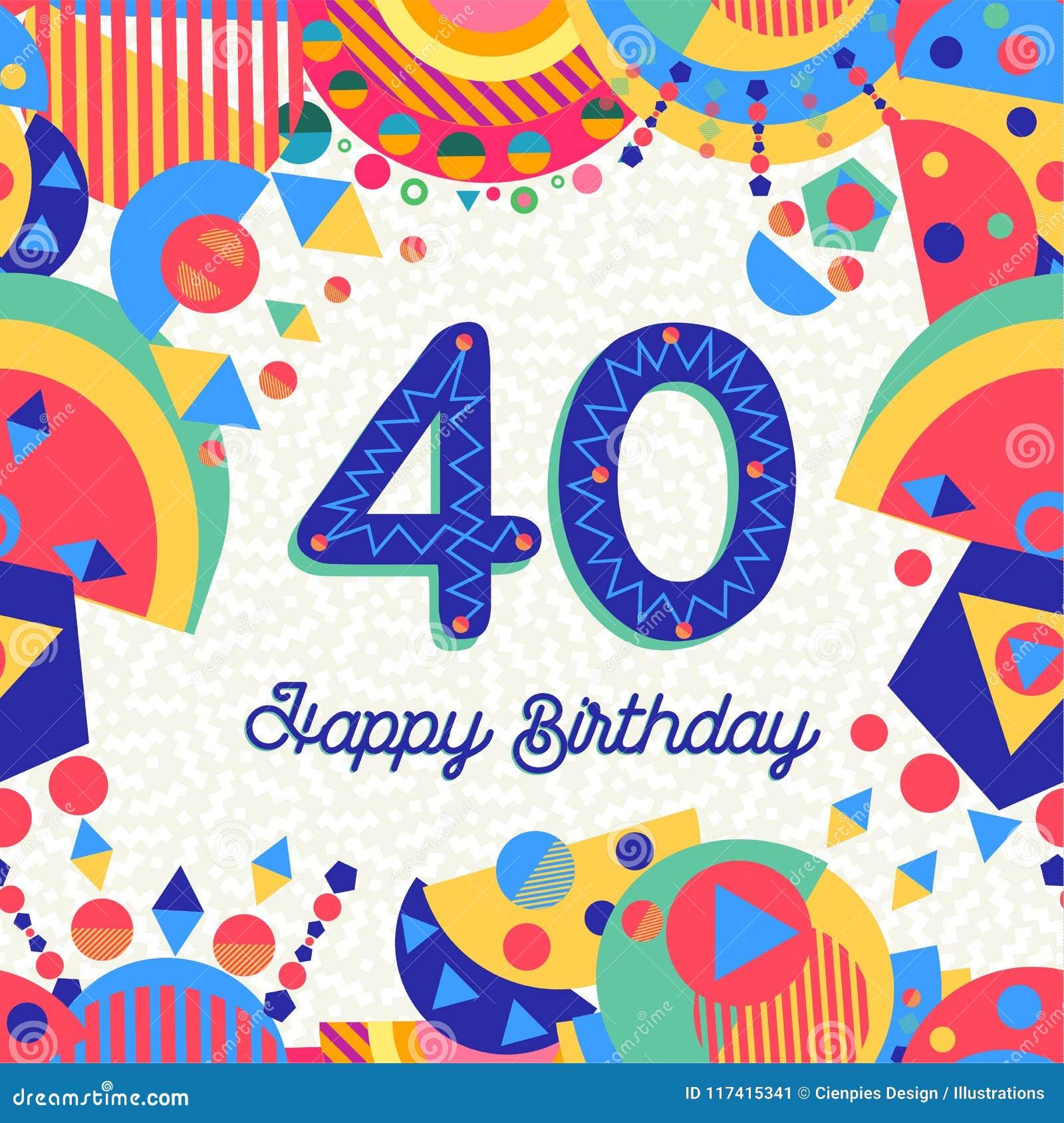 40 Cartolina D Auguri Della Festa Di Compleanno Di Quaranta Anni