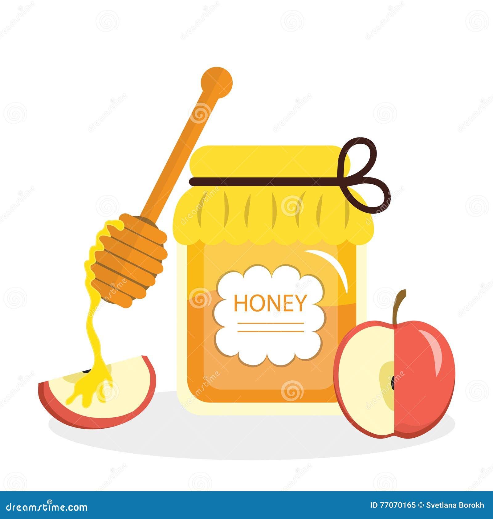 Cartolina d auguri delle mele e del miele per il nuovo anno ebreo Rosh Hashanah Illustrazione di vettore