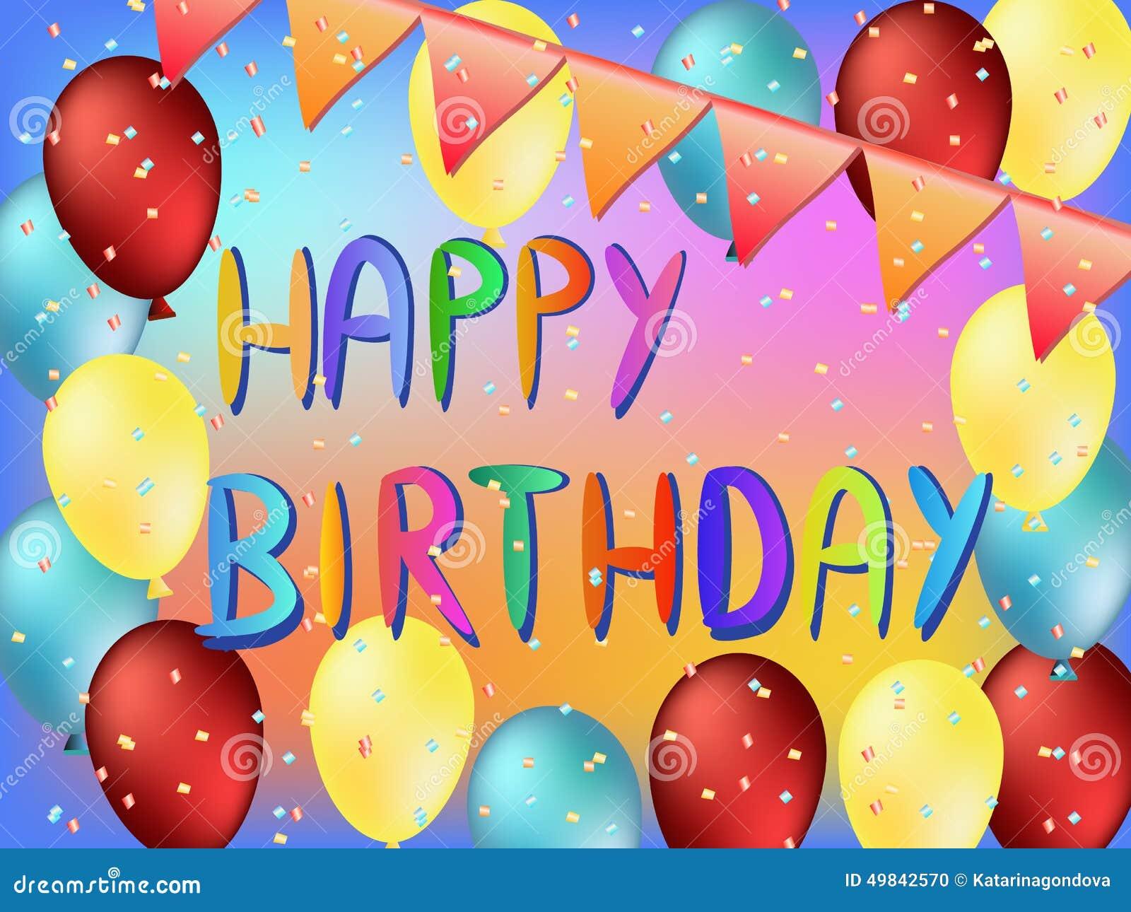 Cartolina d 39 auguri di buon compleanno illustrazione di for Cartoline per auguri