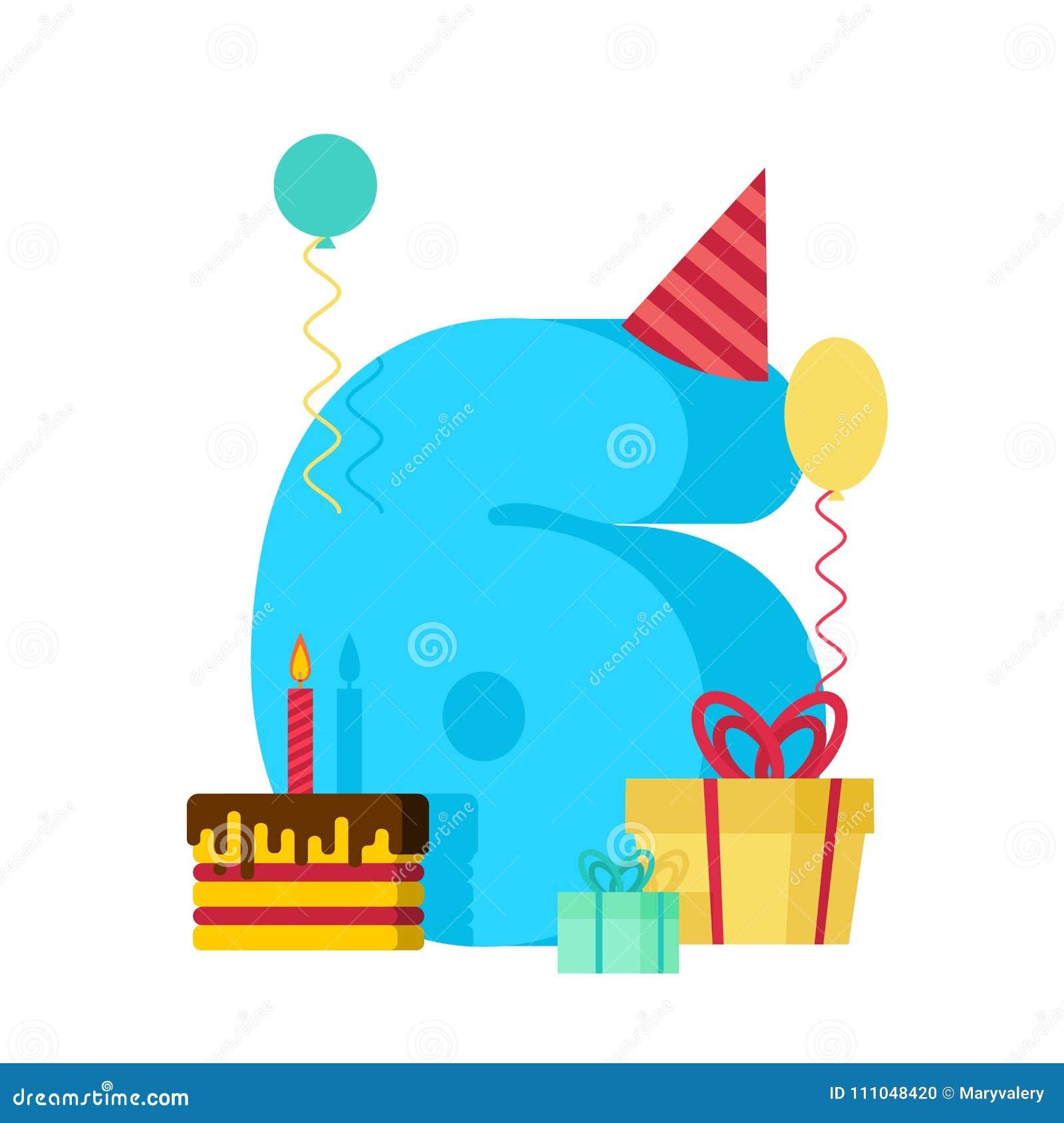 Auguri Buon Compleanno 6 Anni.Cartolina D Auguri Di Buon Compleanno Di 6 Anni Celebrazione