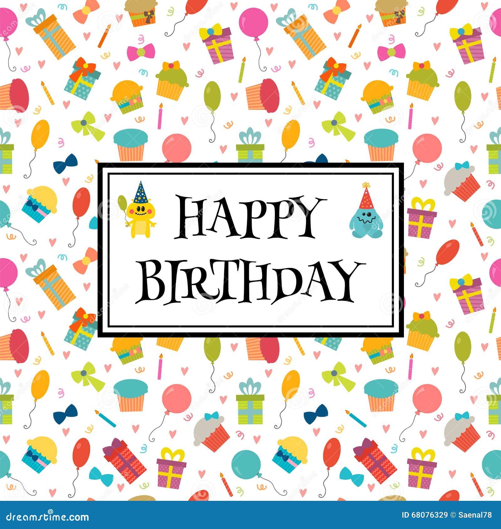Cartolina D Auguri Di Buon Compleanno Con I Mostri Divertenti