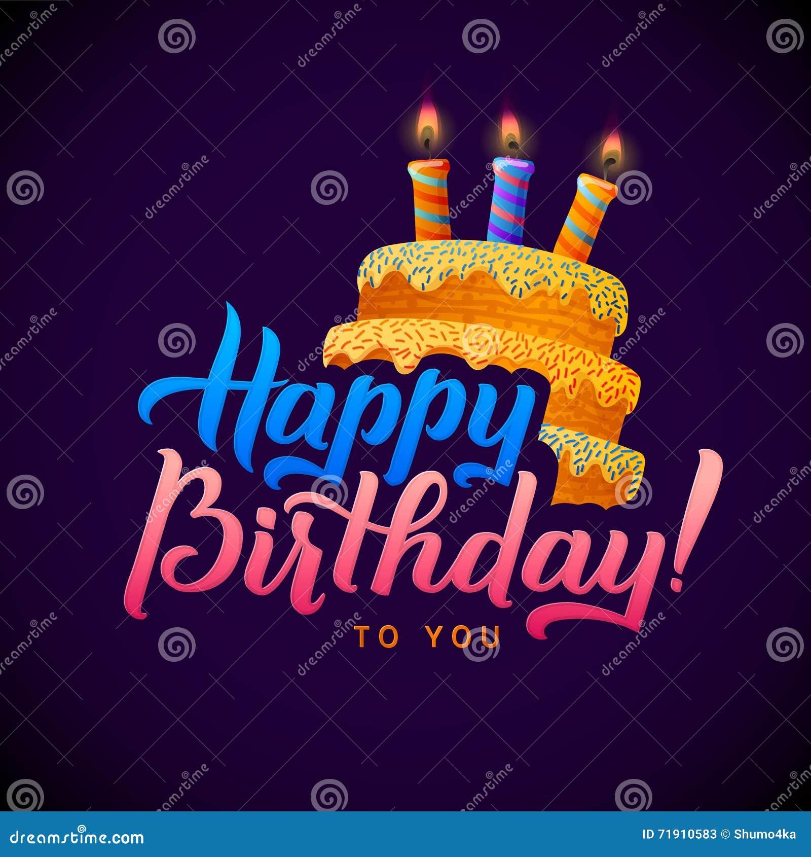 Cartolina D Auguri Di Buon Compleanno Dolce Con Le Candele