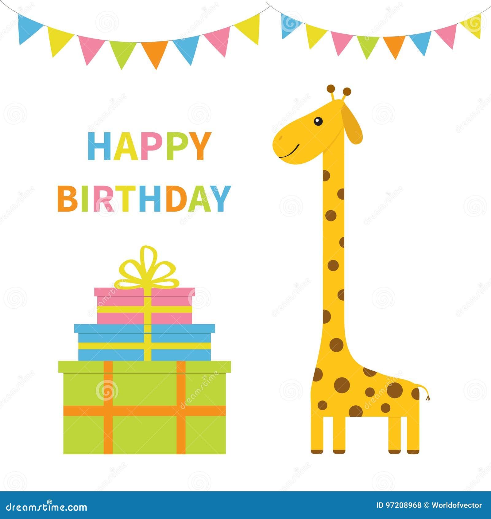 Cartolina D Auguri Di Buon Compleanno Giraffa Con Il Punto