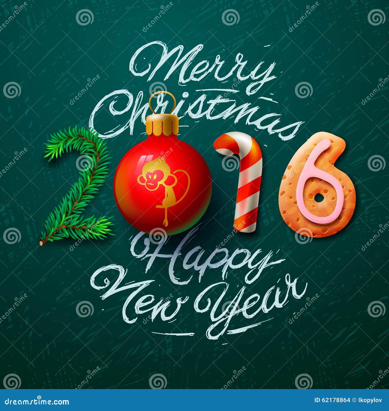 Amato Cartolina D'auguri 2016 Di Buon Natale Illustrazione Vettoriale  DG85