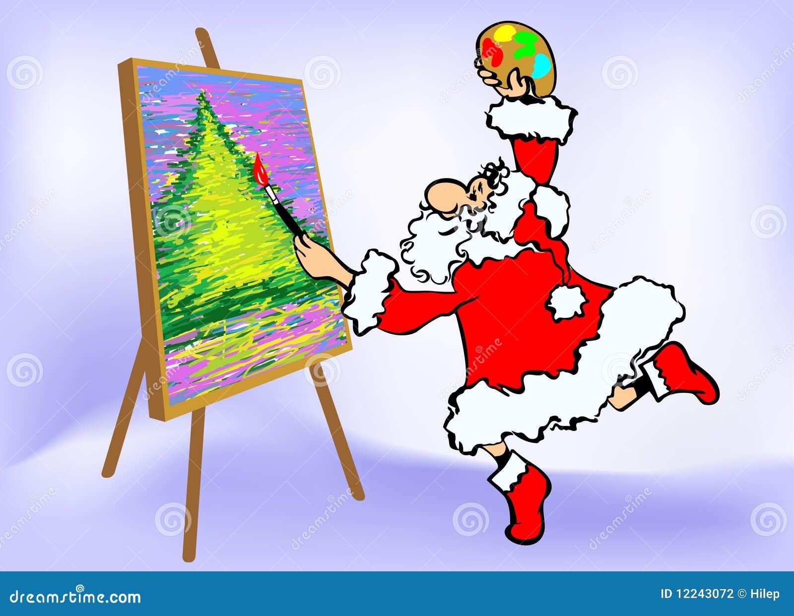Buon Natale Arte.Cartolina D Auguri Di Buon Natale Artista Della Santa Illustrazione Vettoriale Illustrazione Di Natale Dicembre 12243072