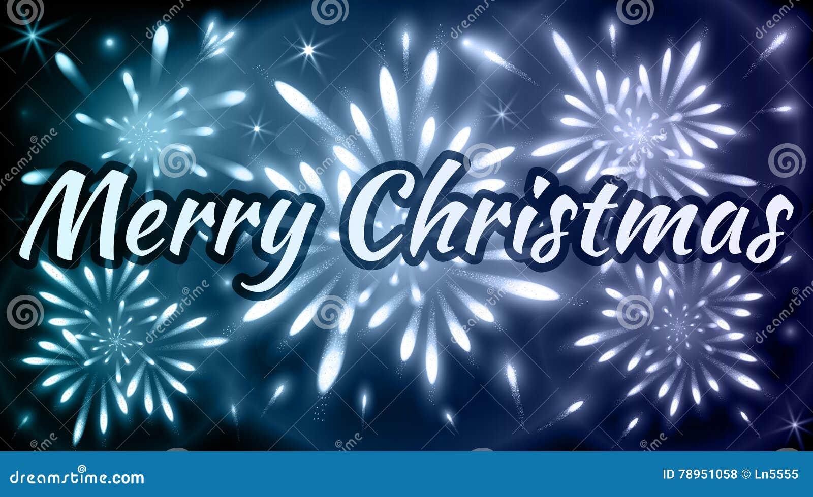 Foto Con Auguri Di Buon Natale.Cartolina D Auguri Di Buon Natale Con I Fuochi D Artificio