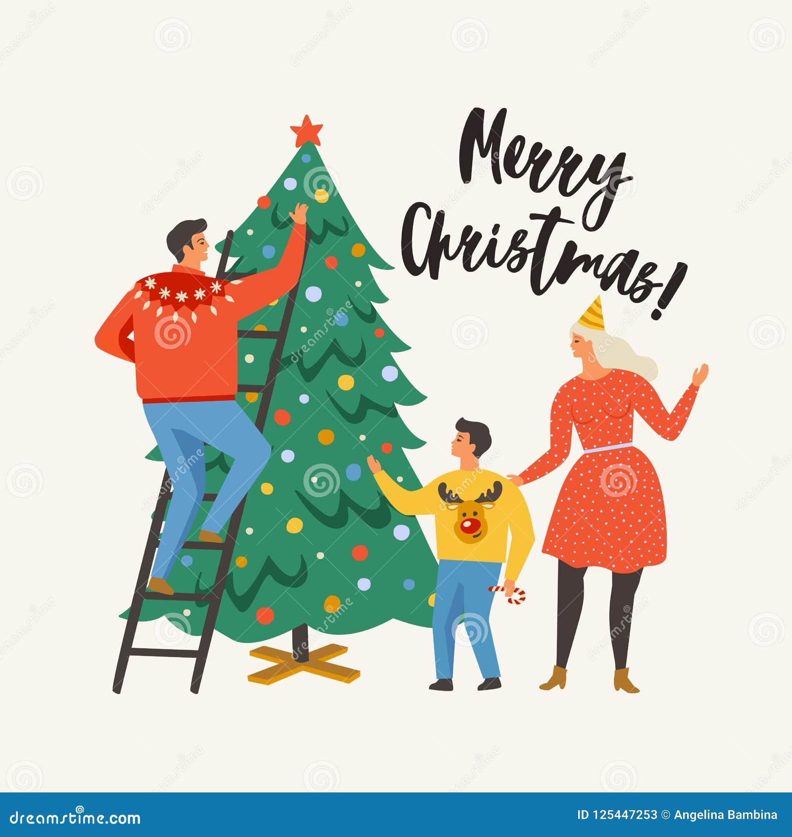 Auguri Di Natale Famiglia.Cartolina D Auguri Di Buon Natale Con La Gente Famiglia Che Decora