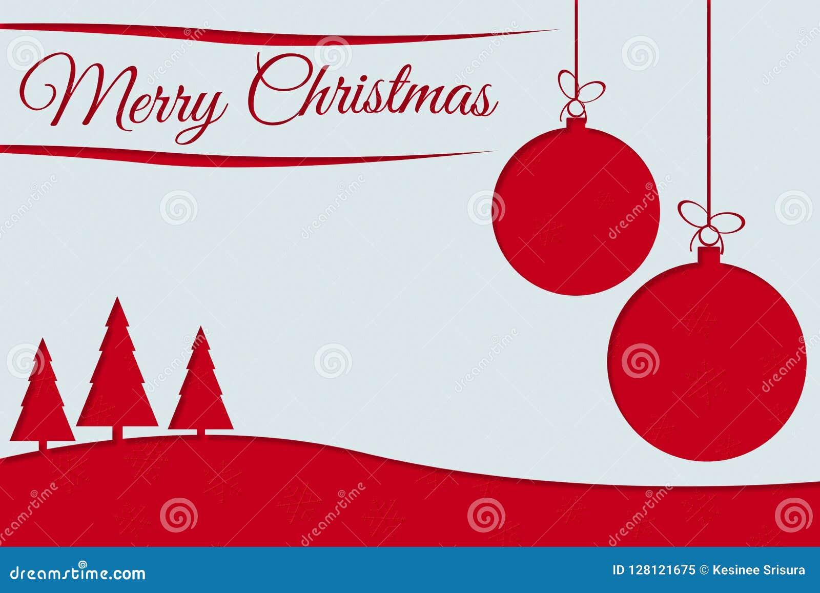 Cartolina d auguri di Buon Natale con testo rosso, le palle di natale ed il pino