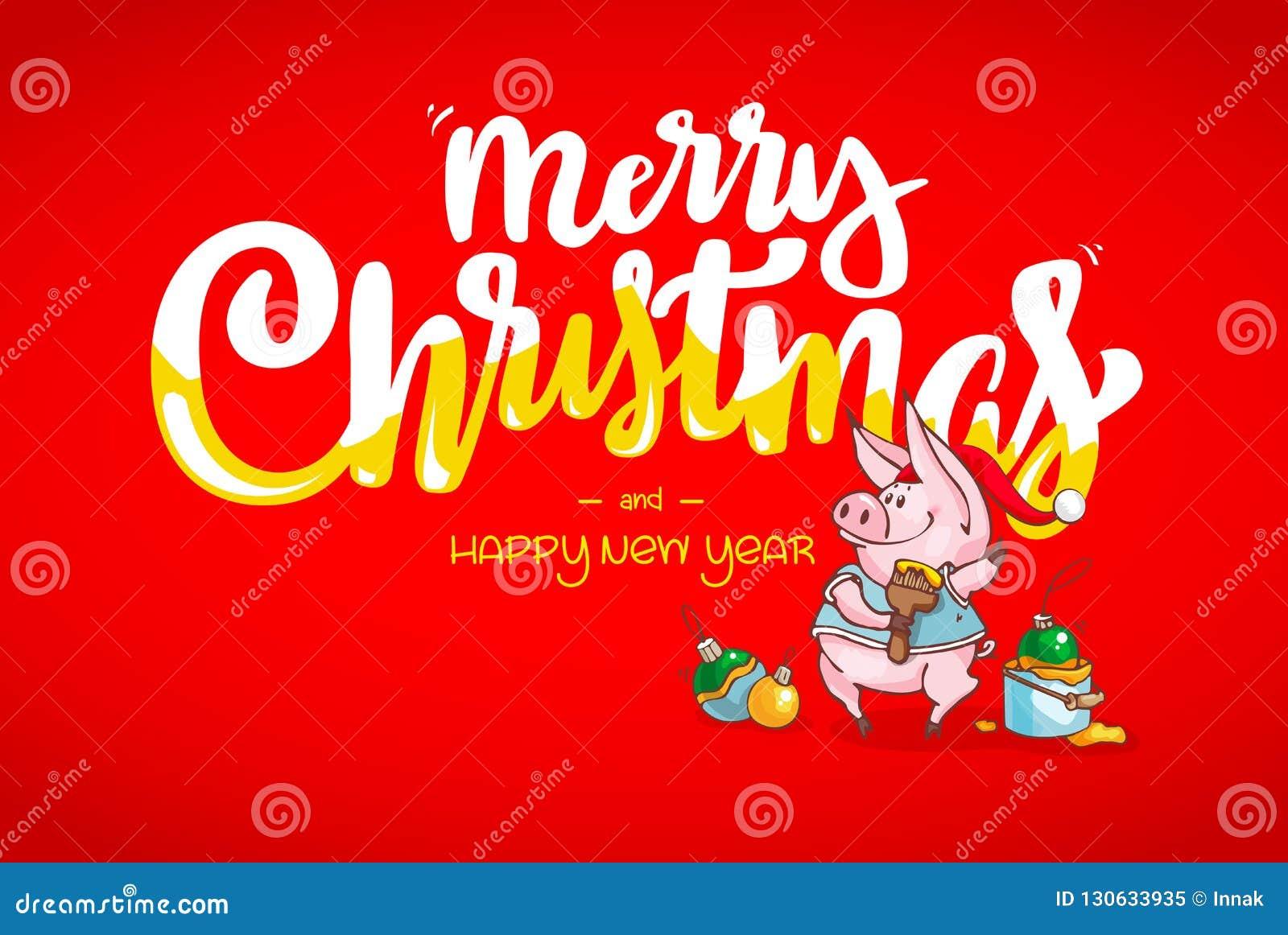 Immagini Auguri Di Natale E Buon Anno.Cartolina D Auguri Di Buon Natale E Del Buon Anno Decorazioni Di