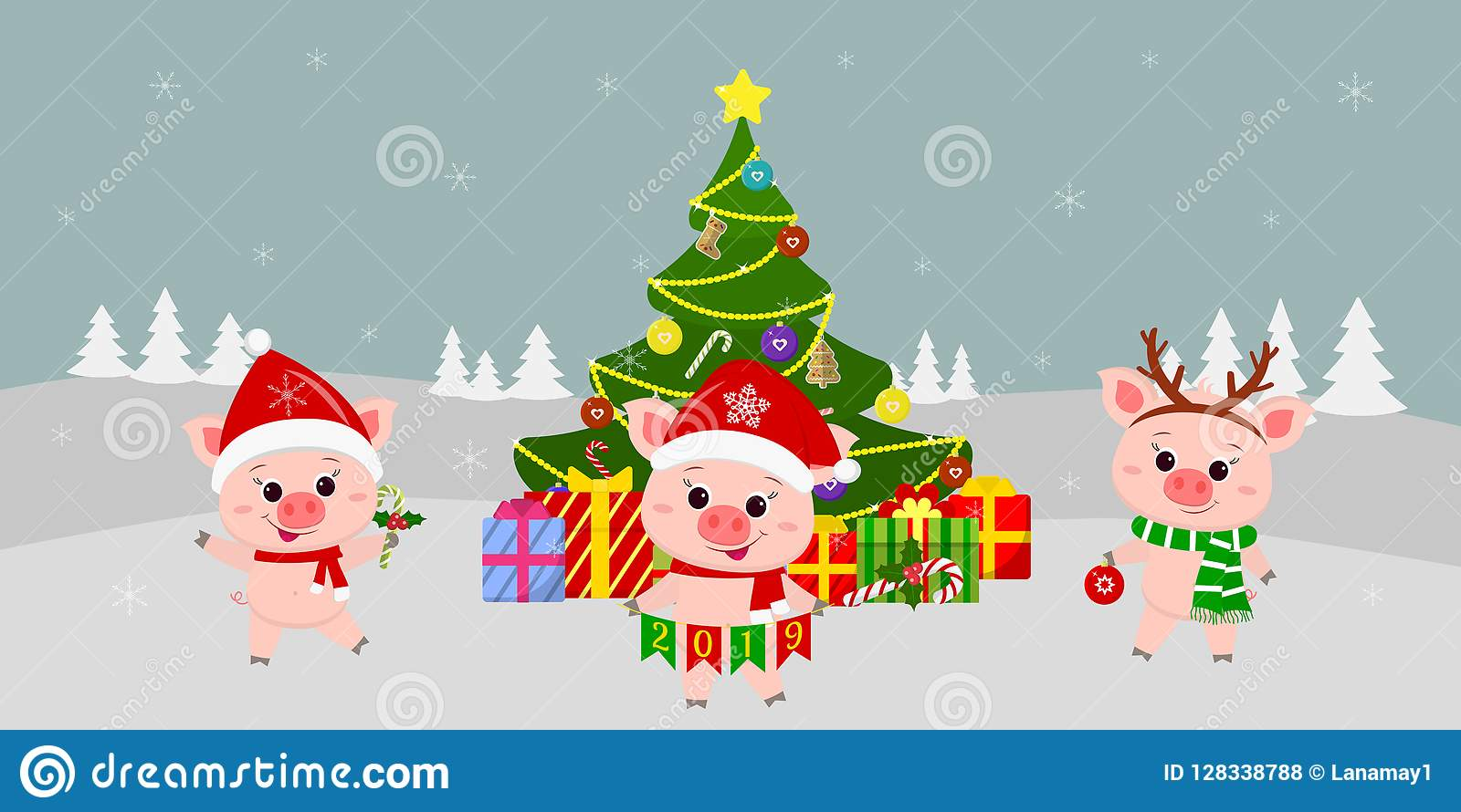 Auguri Di Buon Natale E Buon Anno.Cartolina D Auguri Di Buon Natale E Del Buon Anno Tre Maiali Svegli