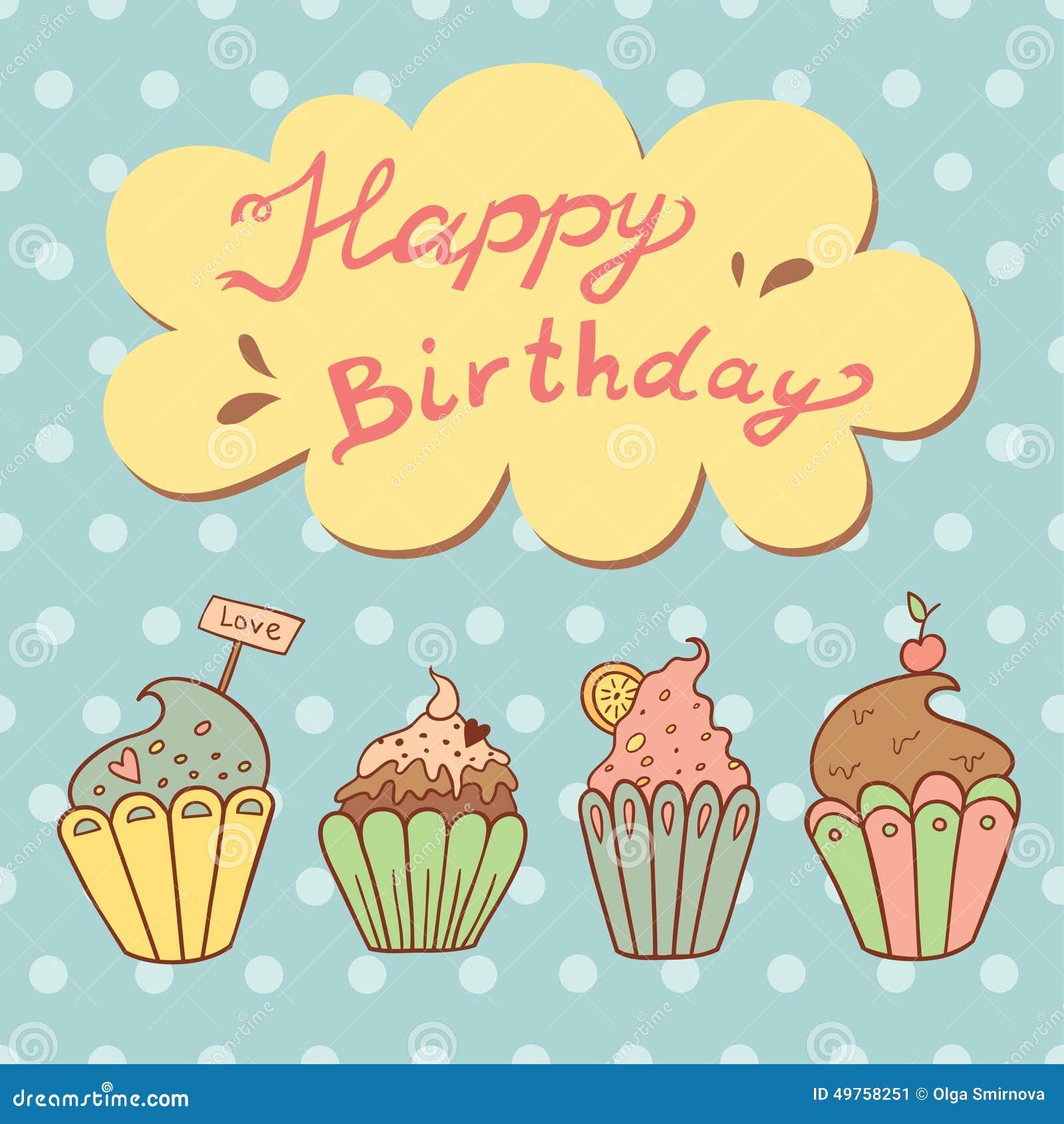Préférence Cartolina D'auguri Di Compleanno Con I Bigné Dolci Illustrazione  IX32