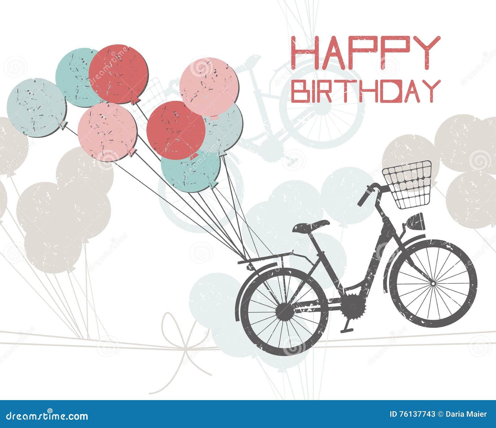 Cartolina Dauguri Di Compleanno Con I Palloni E La Bicicletta