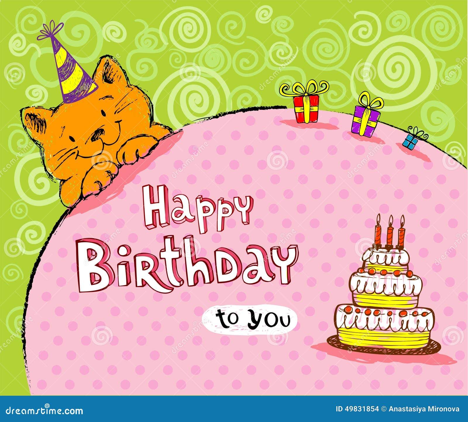 abbastanza Cartolina d auguri di compleanno con il gatto foto stock  XN27