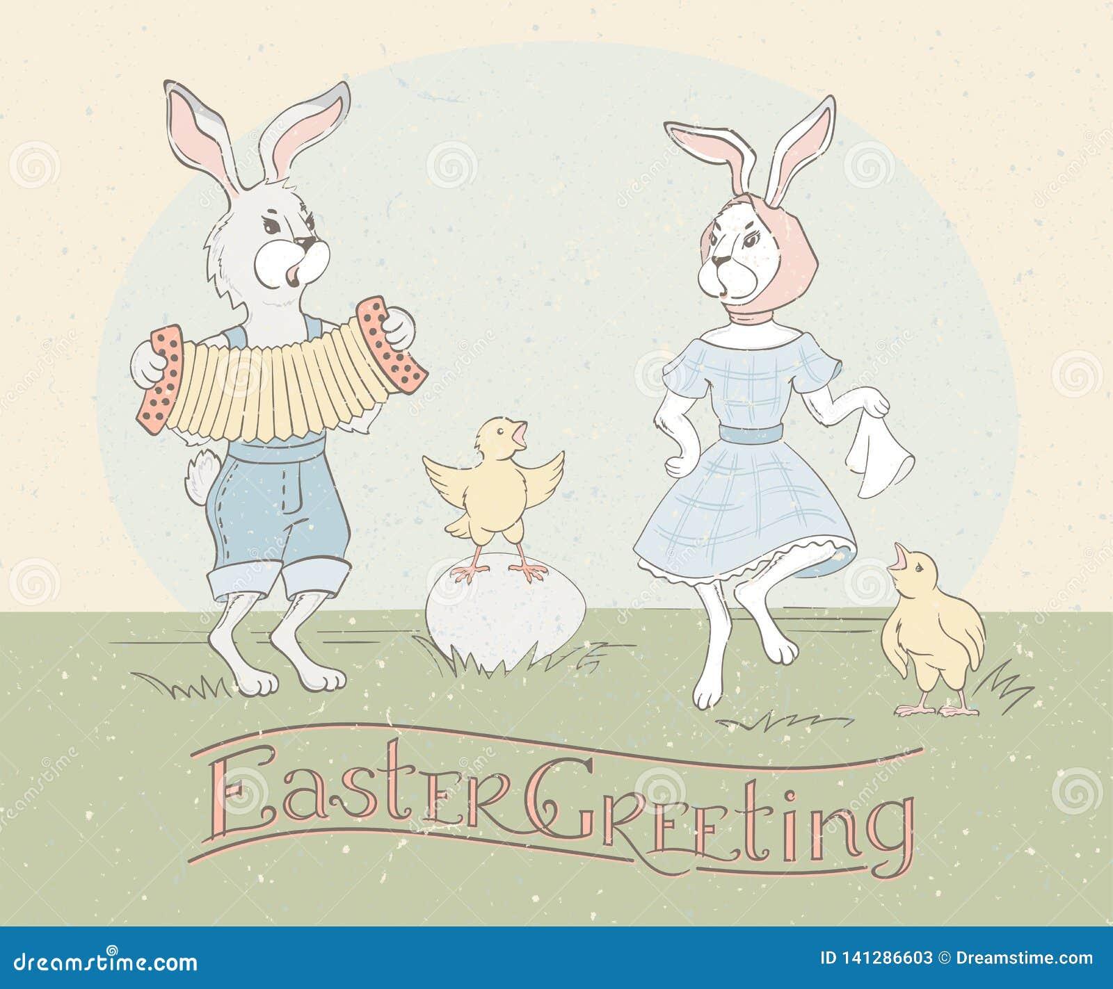 Cartolina d auguri di festa con l iscrizione della mano e conigli di Pasqua che ballano alla fisarmonica ed ai polli di canto Sal