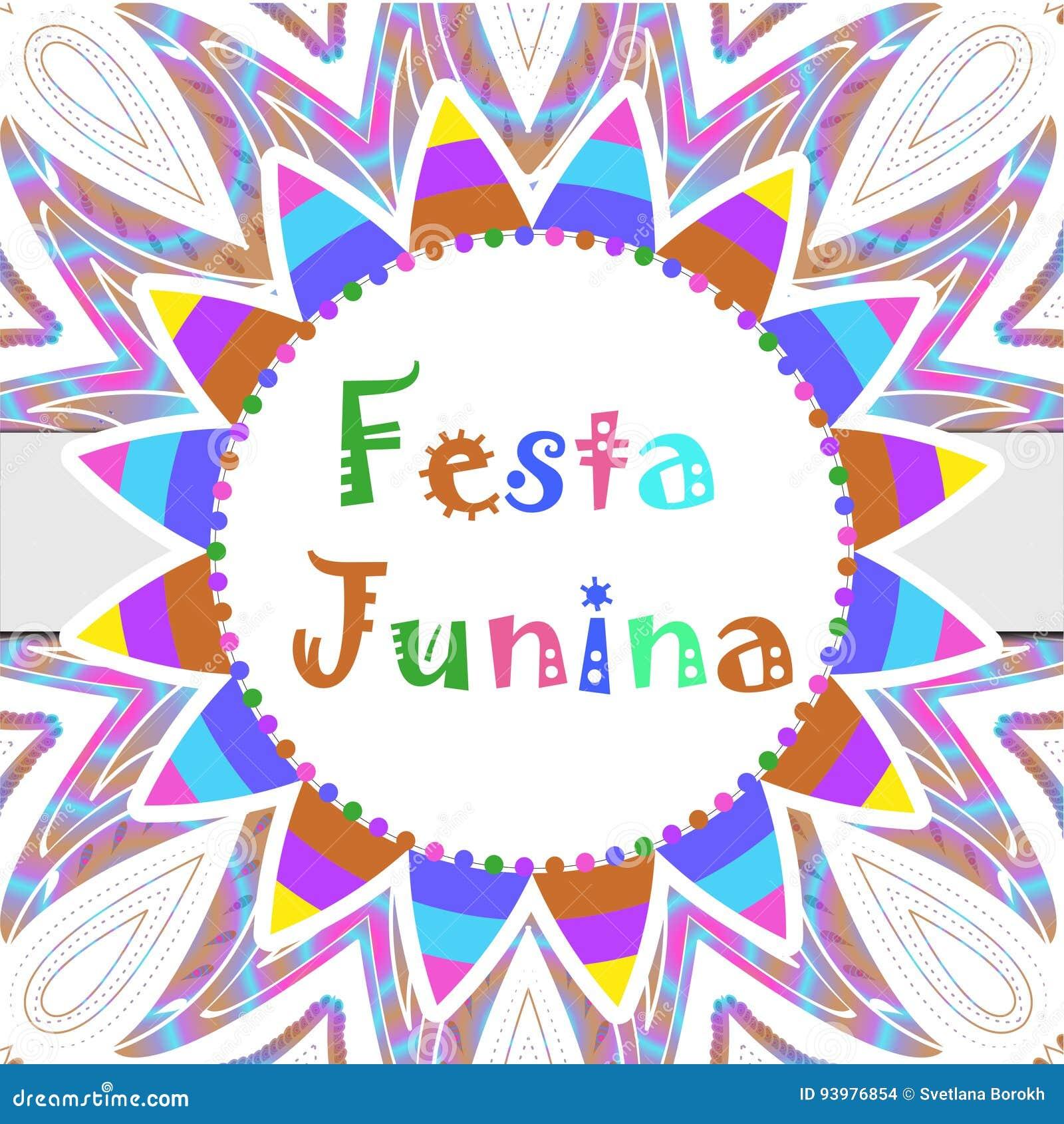 Cartolina d auguri di Festa Junina, invito, manifesto Modello dell America latina brasiliano di festival per la vostra progettazi