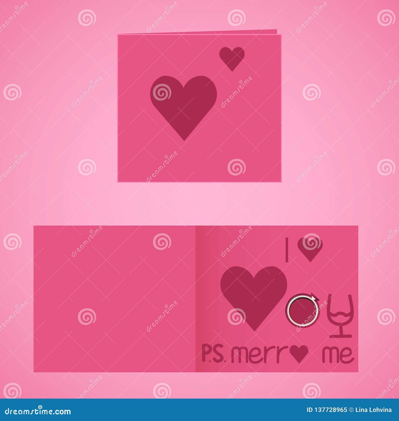Cartolina d auguri di giorno di biglietti di S. Valentino ti amo e sposarmi