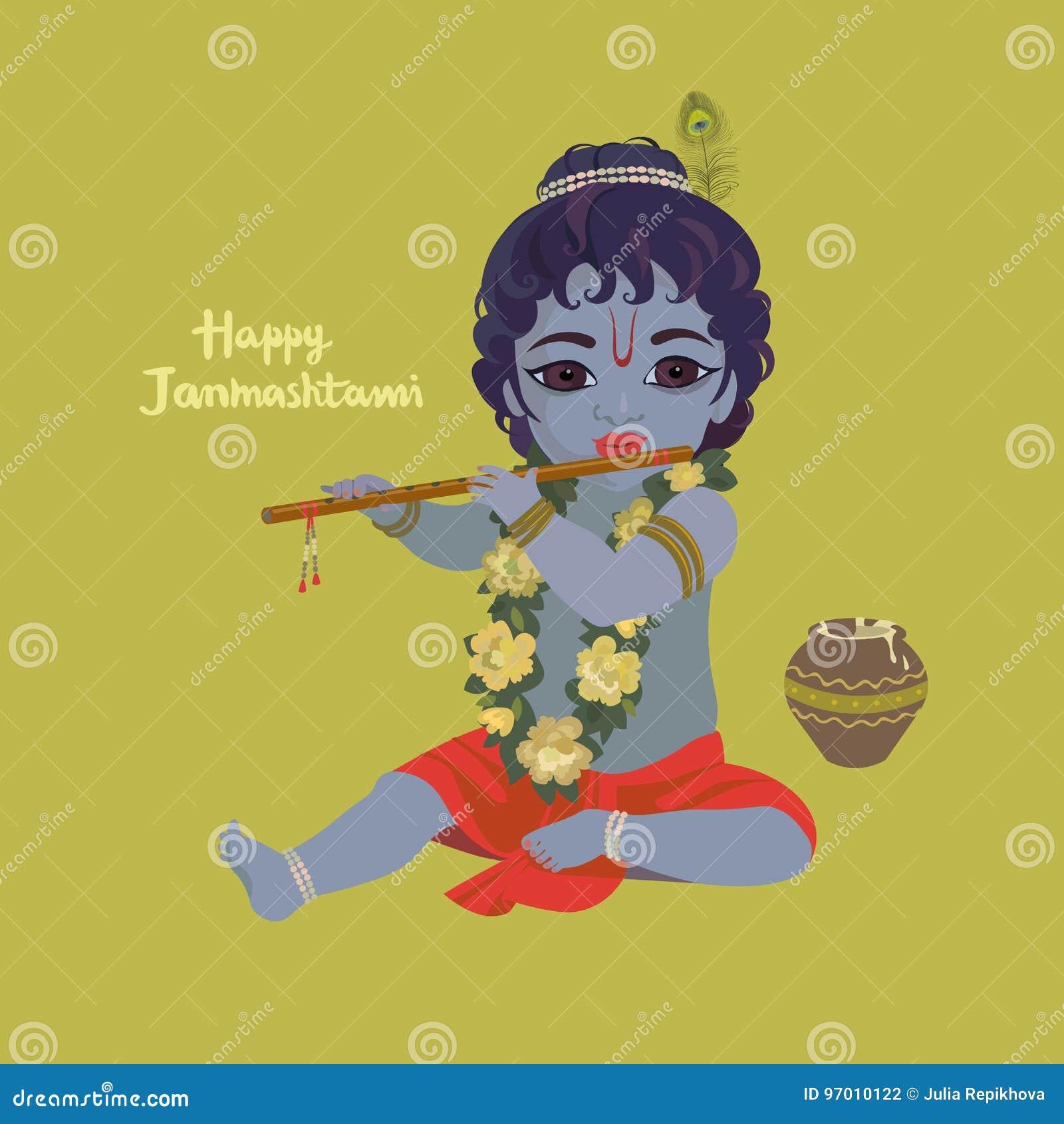 Cartolina d auguri di janmashtami di Krishna