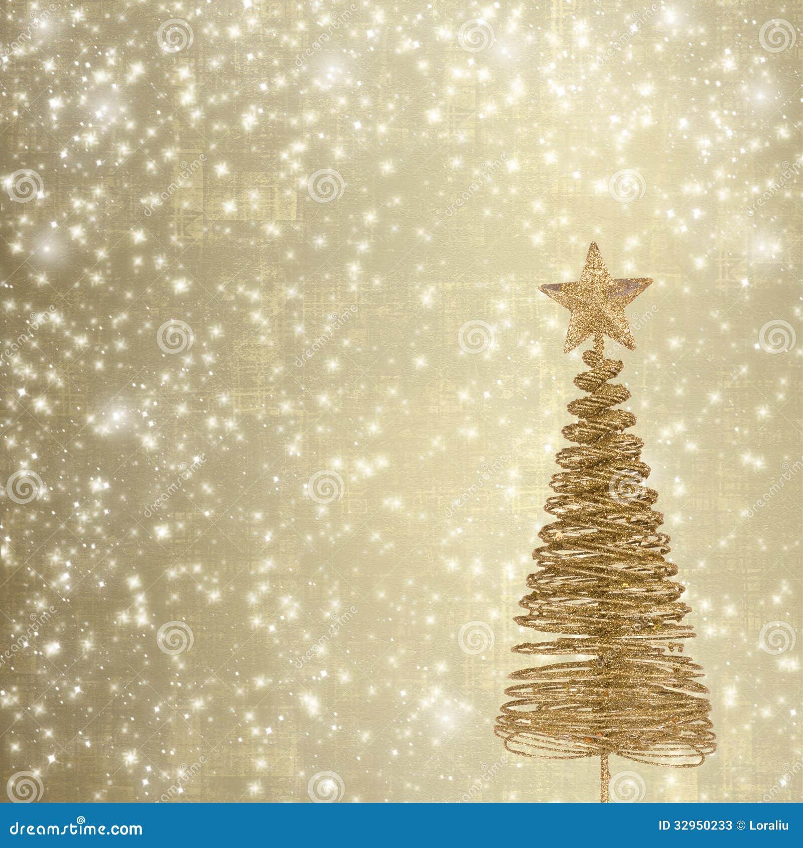 Immagini Natale Oro.Cartolina D Auguri Di Natale Con L Abete Del Metallo Dell Oro