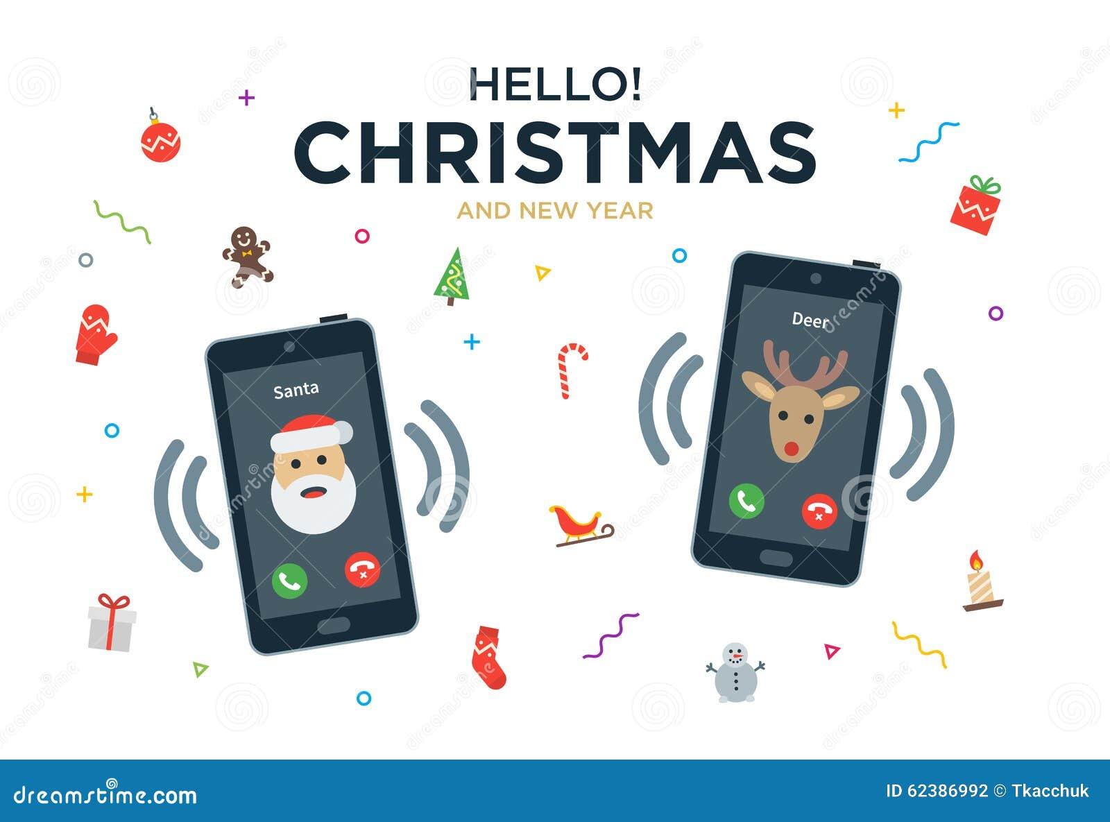 Cartolina d auguri di Natale con la telefonata da Santa
