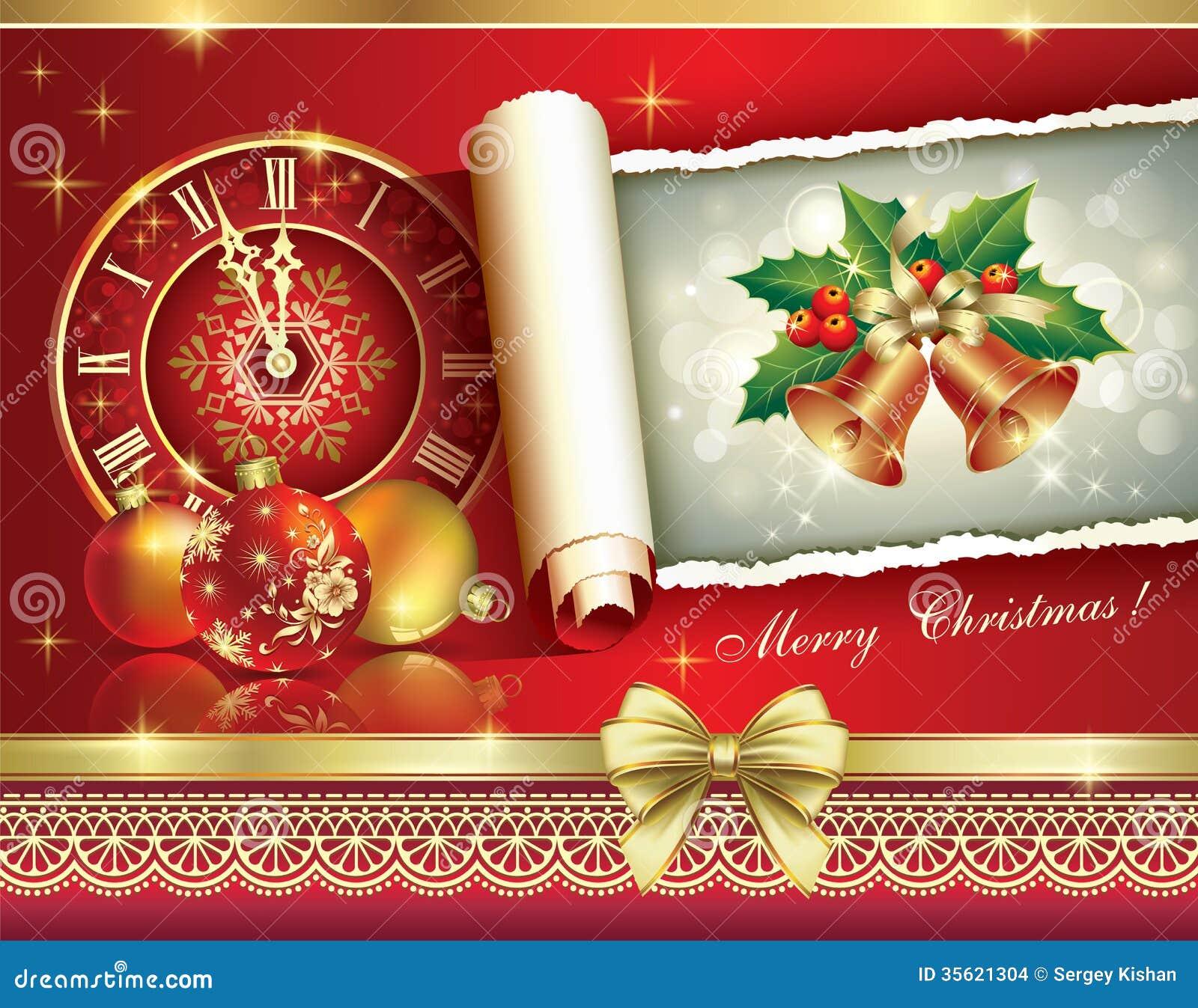 Auguri Matrimonio Orologio : Cartolina d auguri di natale con un orologio e le