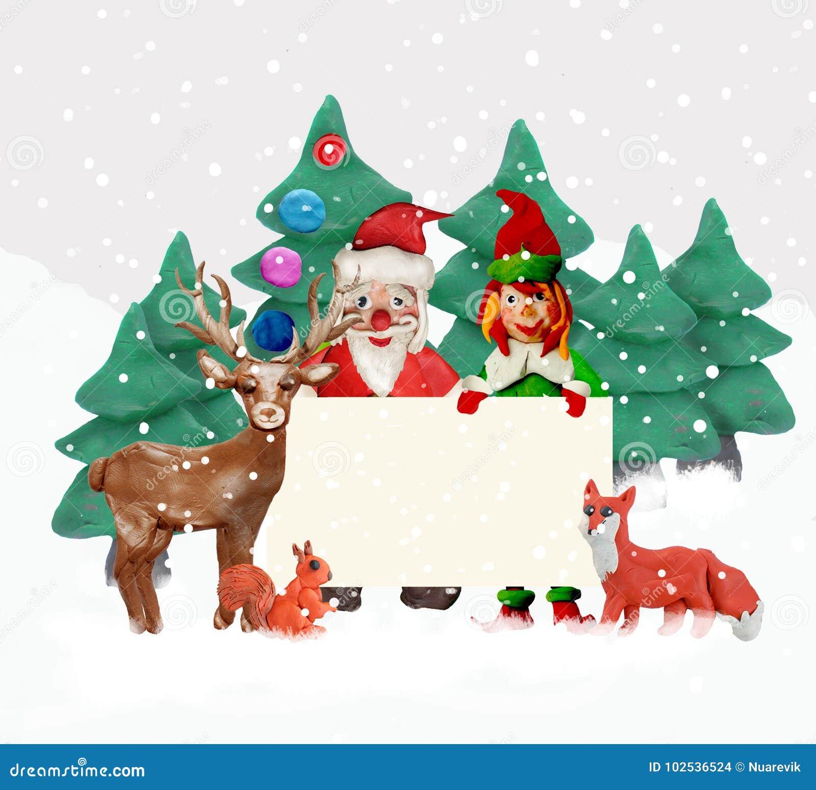 Auguri Di Natale 3d.Cartolina D Auguri Di Natale Della Plastilina 3d Con L Elfo