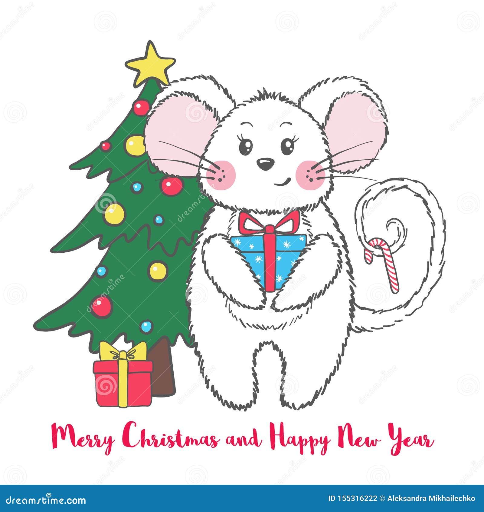 Cartolina d auguri di Natale e del nuovo anno con il topo sveglio