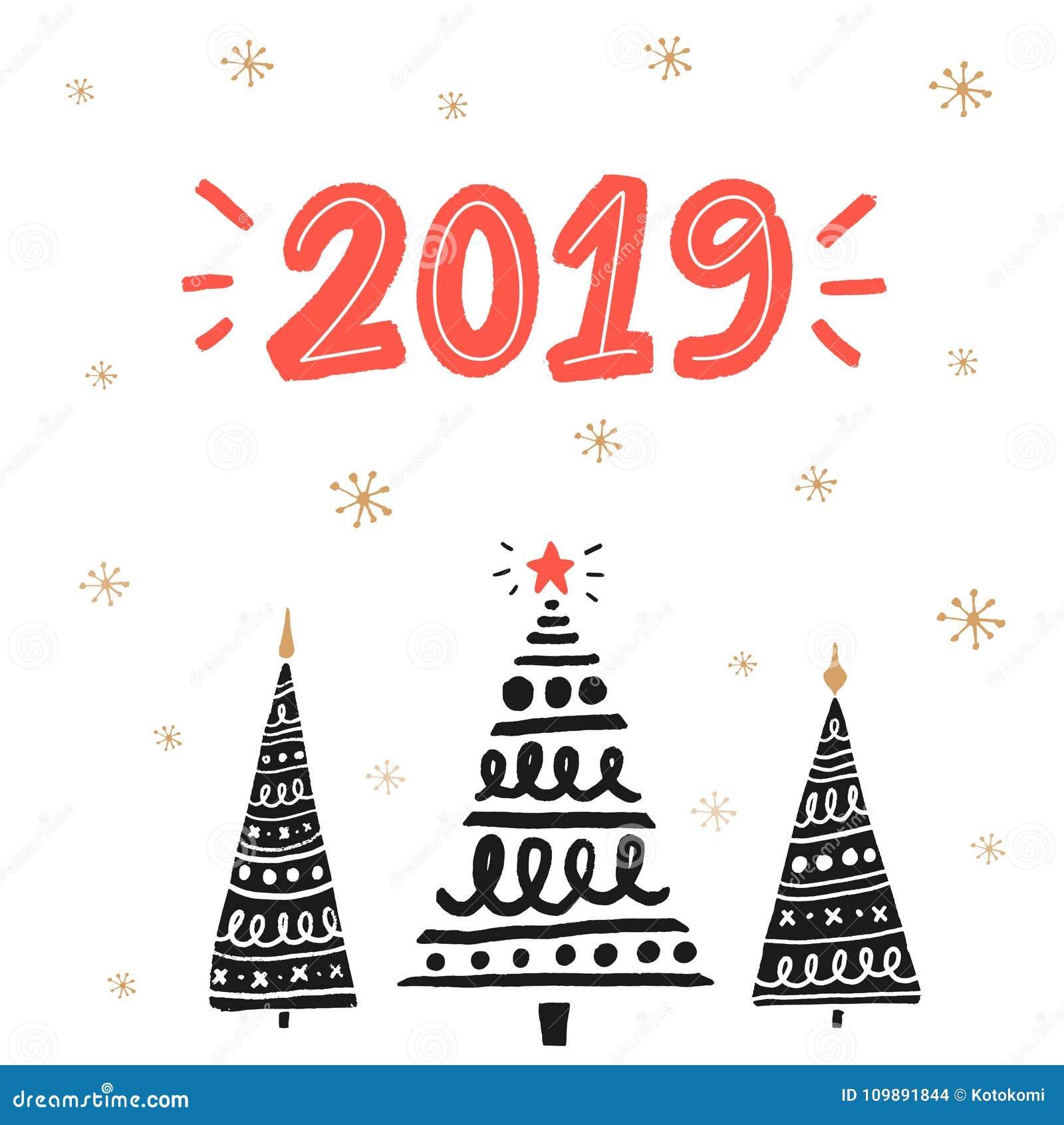 Cartolina D Auguri Di 2019 Nuovi Anni Con Gli Alberi Di
