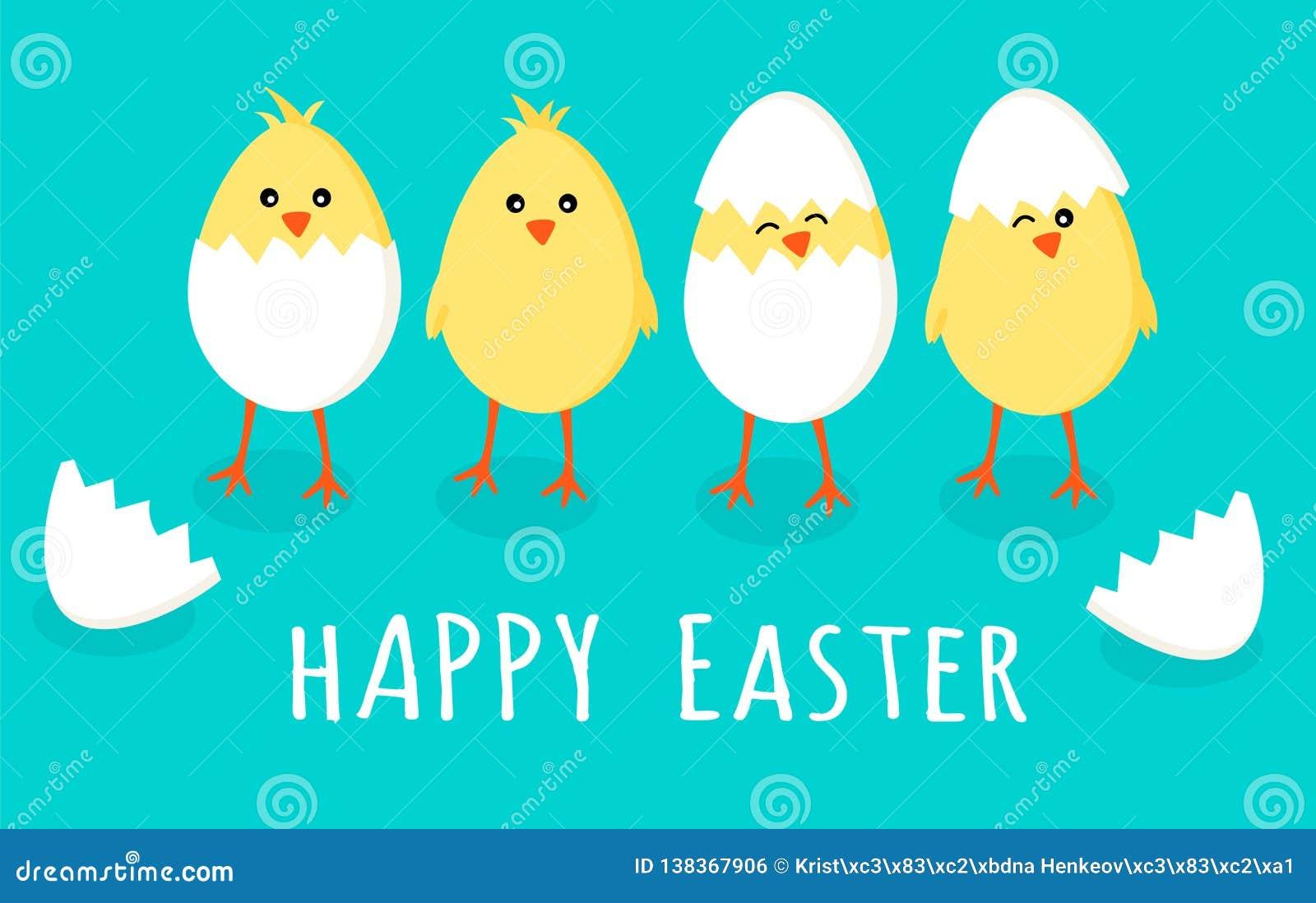 Cartolina d auguri di Pasqua con quattro piccoli pulcini gialli svegli in uova incrinate e coperture dell uovo con il testo pasqu