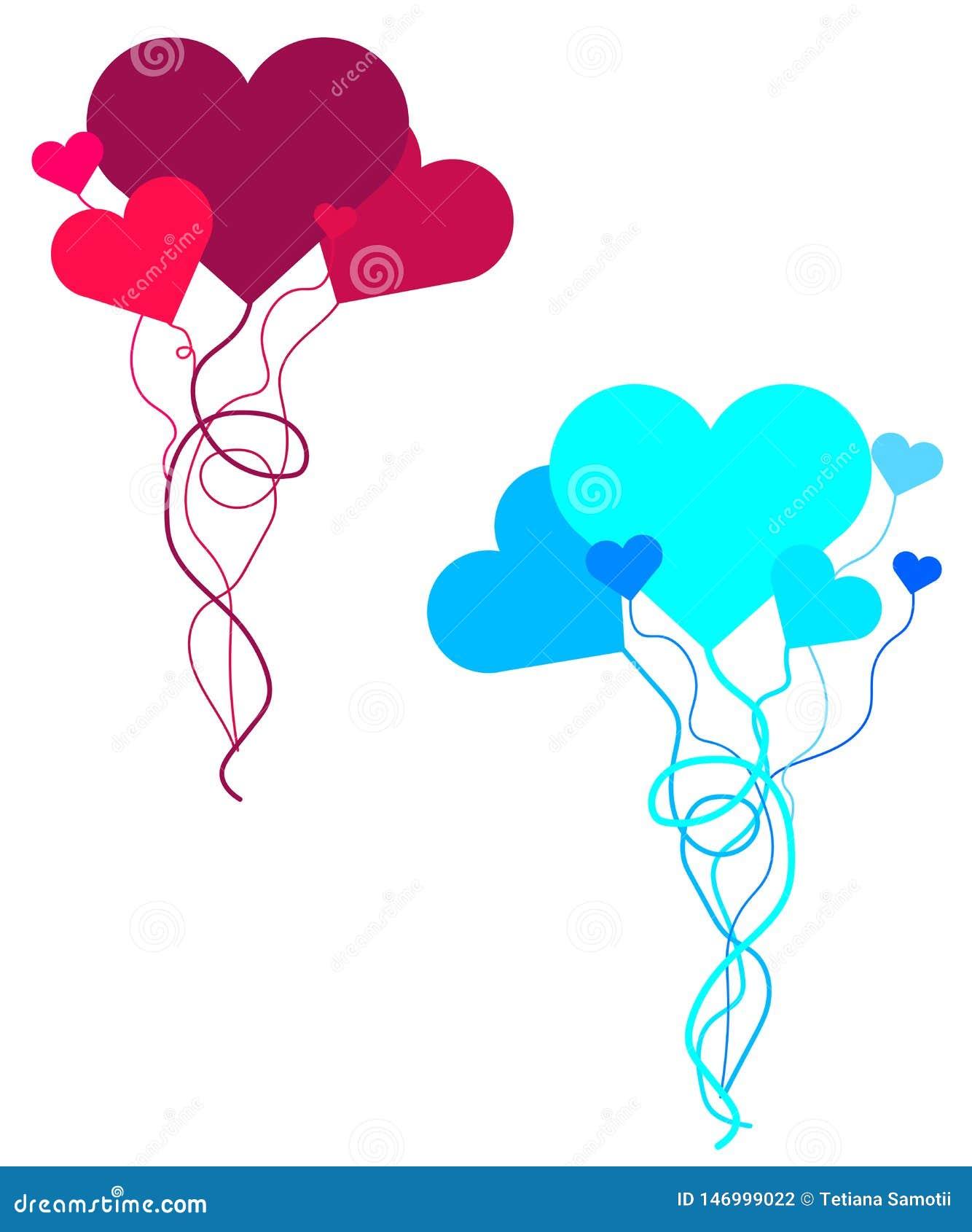 Cartolina d auguri di San Valentino di web con il rosa ed i cuori rossi Metta dei palloni a forma di del cuore