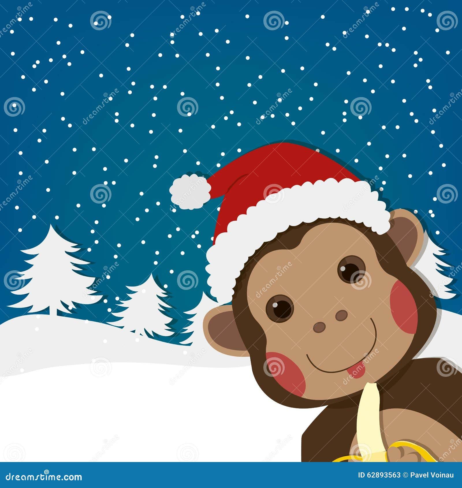 Cartolina d auguri divertente della scimmia del nuovo