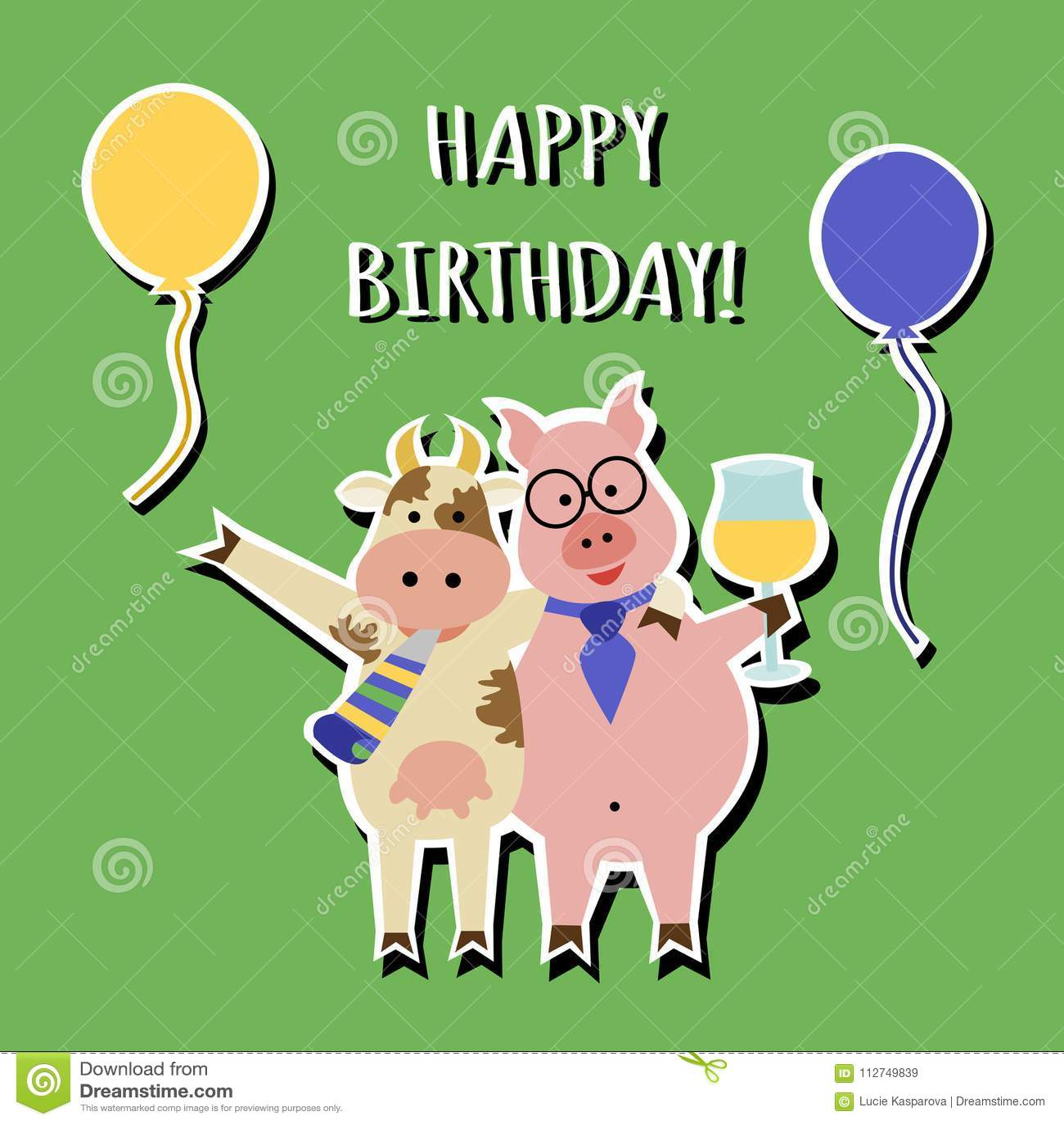 Cartolina D Auguri Divertente Di Buon Compleanno Animali