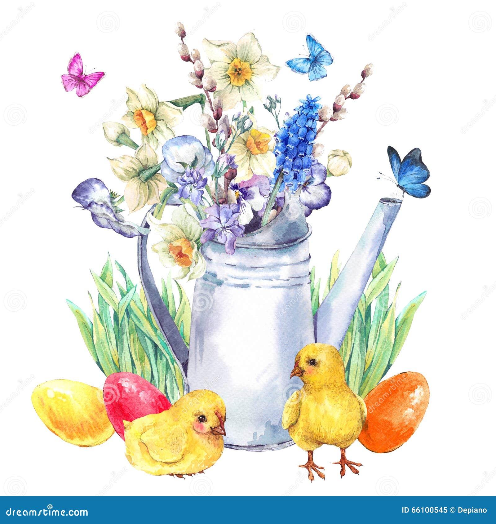 Cartolina d auguri felice d annata di Pasqua con il mazzo della molla