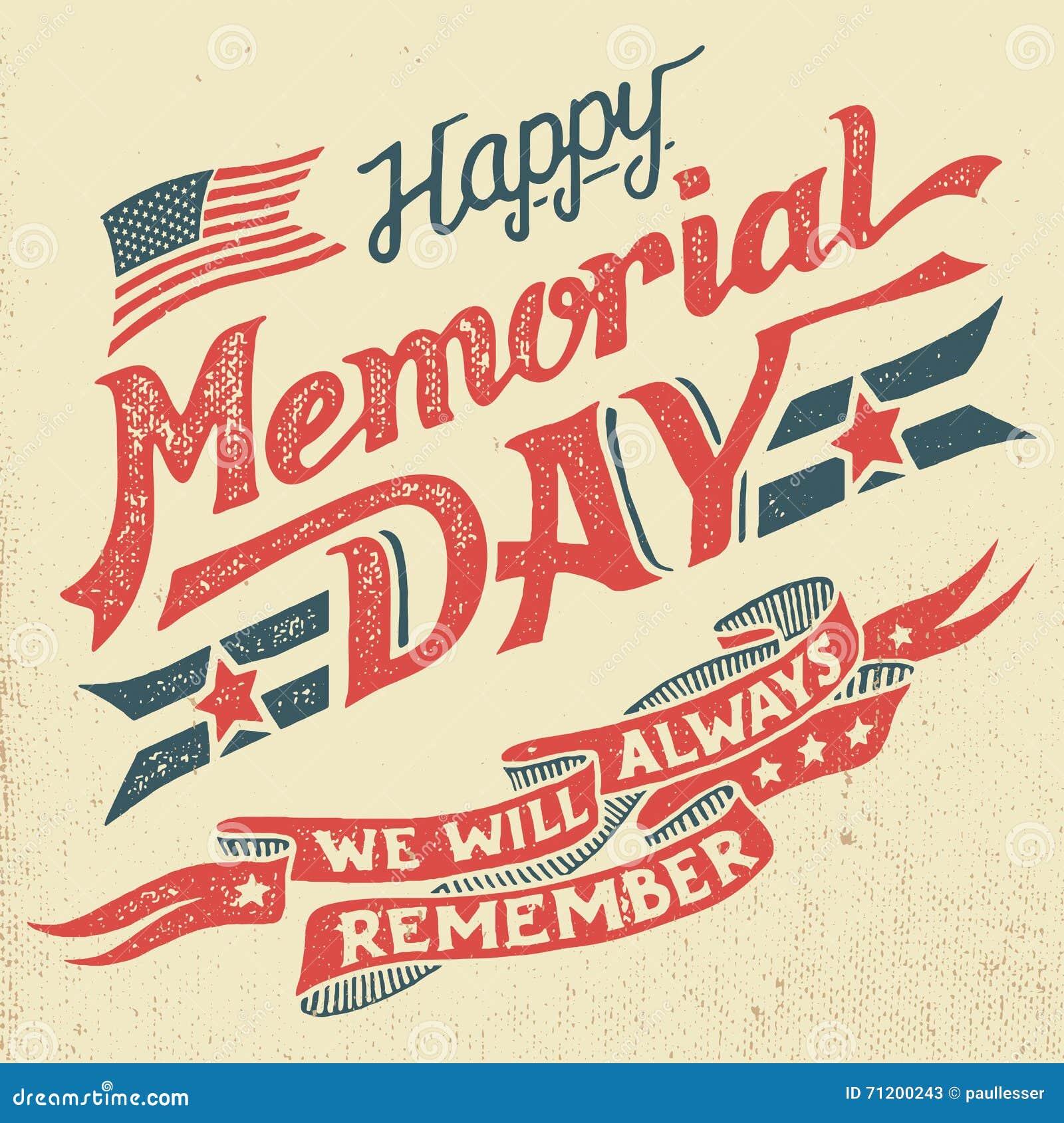 Cartolina d auguri felice dell a mano iscrizione di Memorial Day
