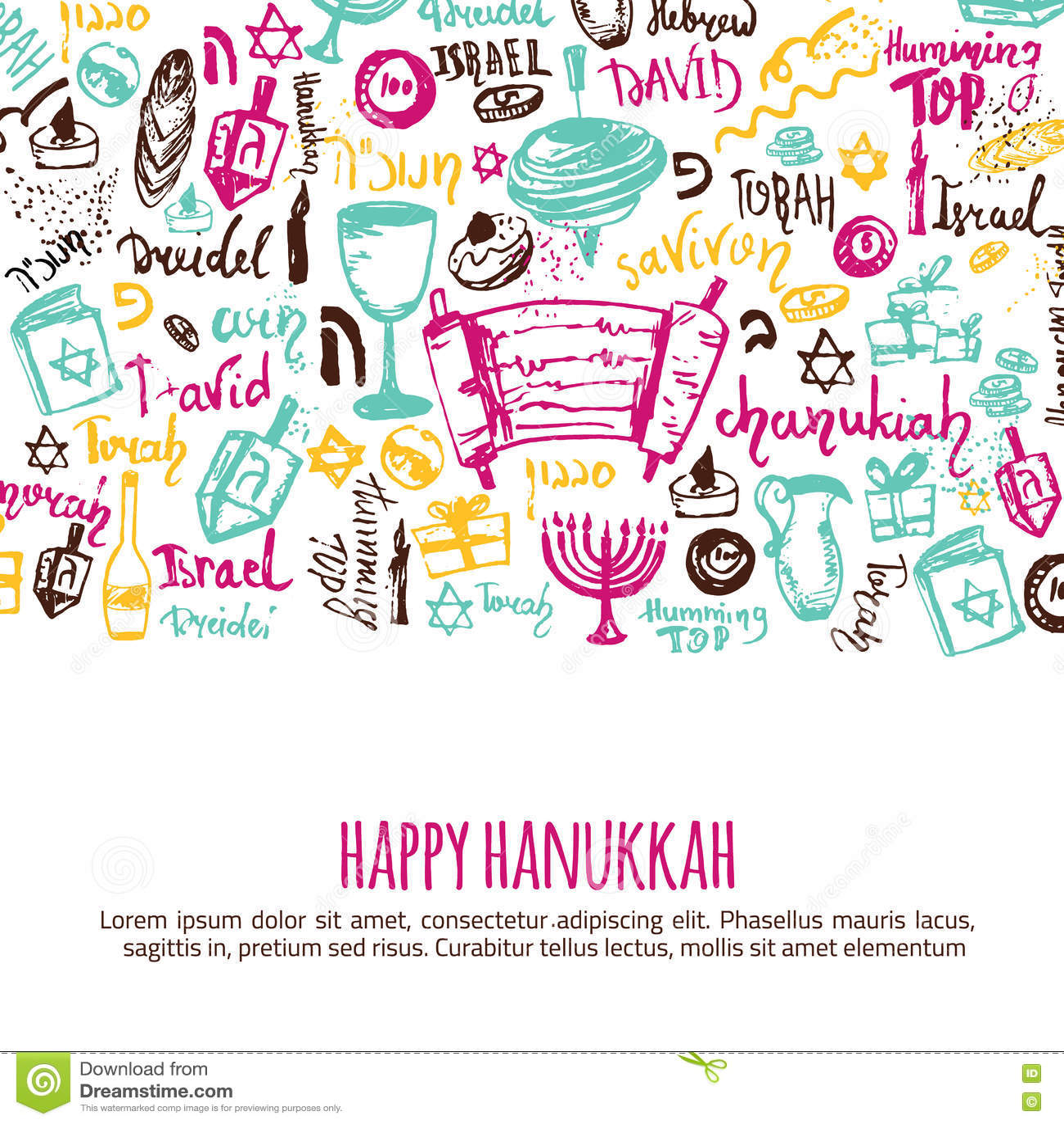 Cartolina d auguri felice di Chanukah con gli elementi e l iscrizione disegnati a mano