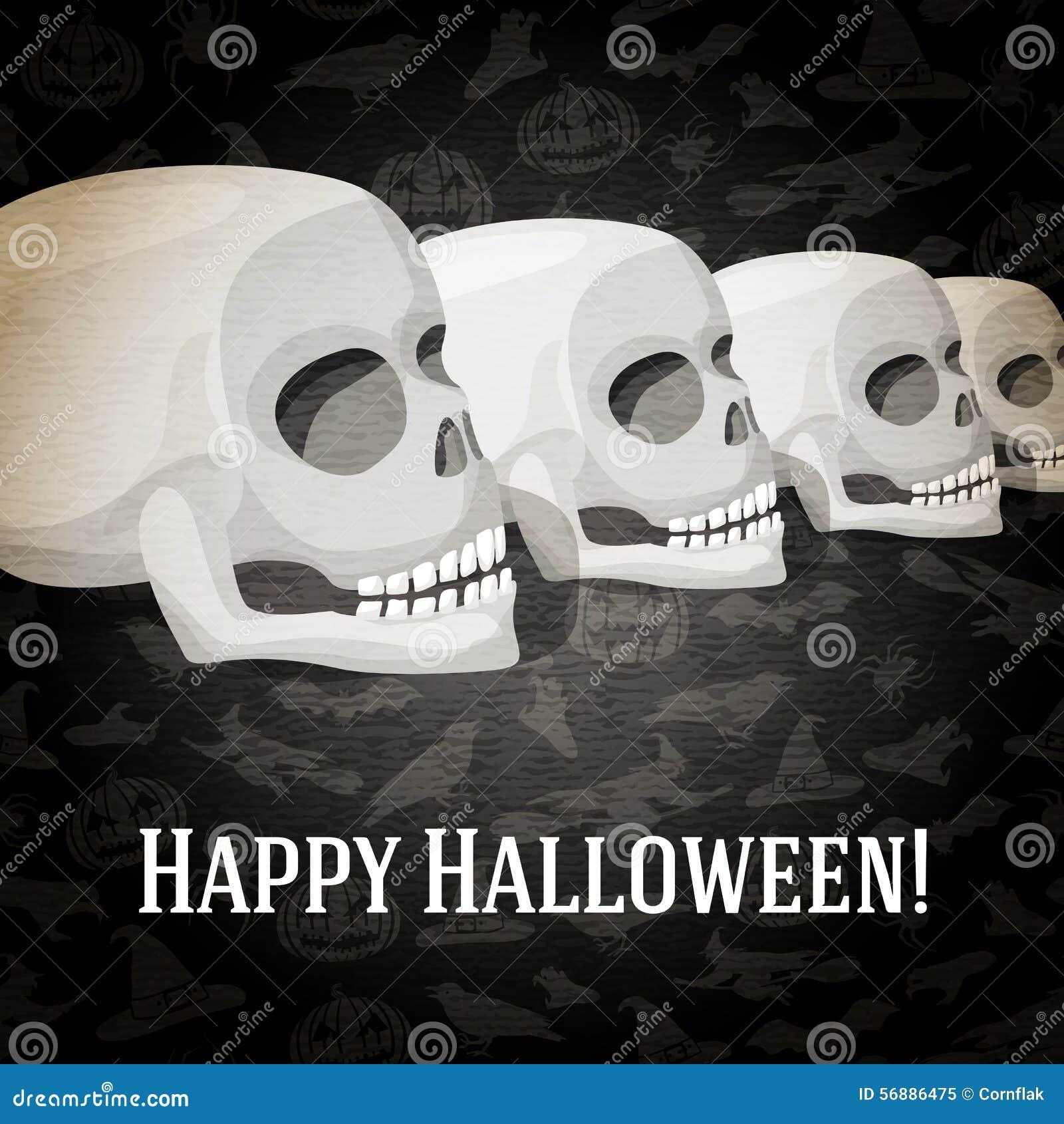 Cartolina d auguri felice di Halloween con i crani umani
