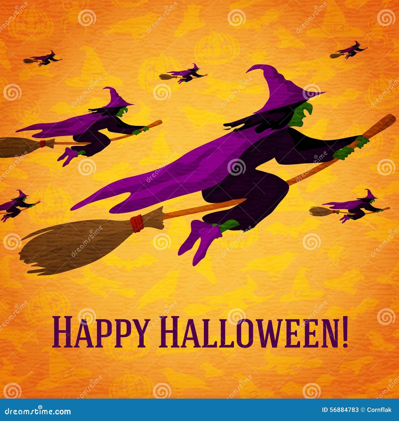 Cartolina d auguri felice di Halloween con l orda di