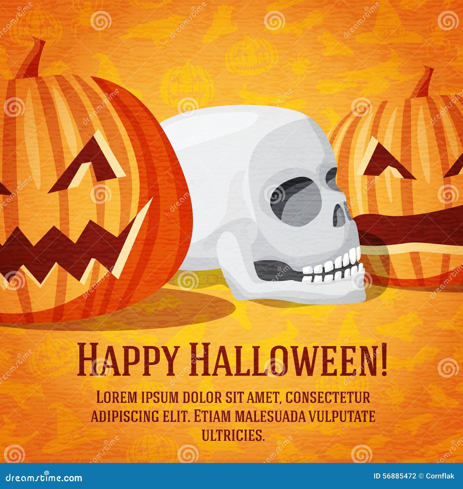 Cartolina d auguri felice di Halloween con le zucche scolpite