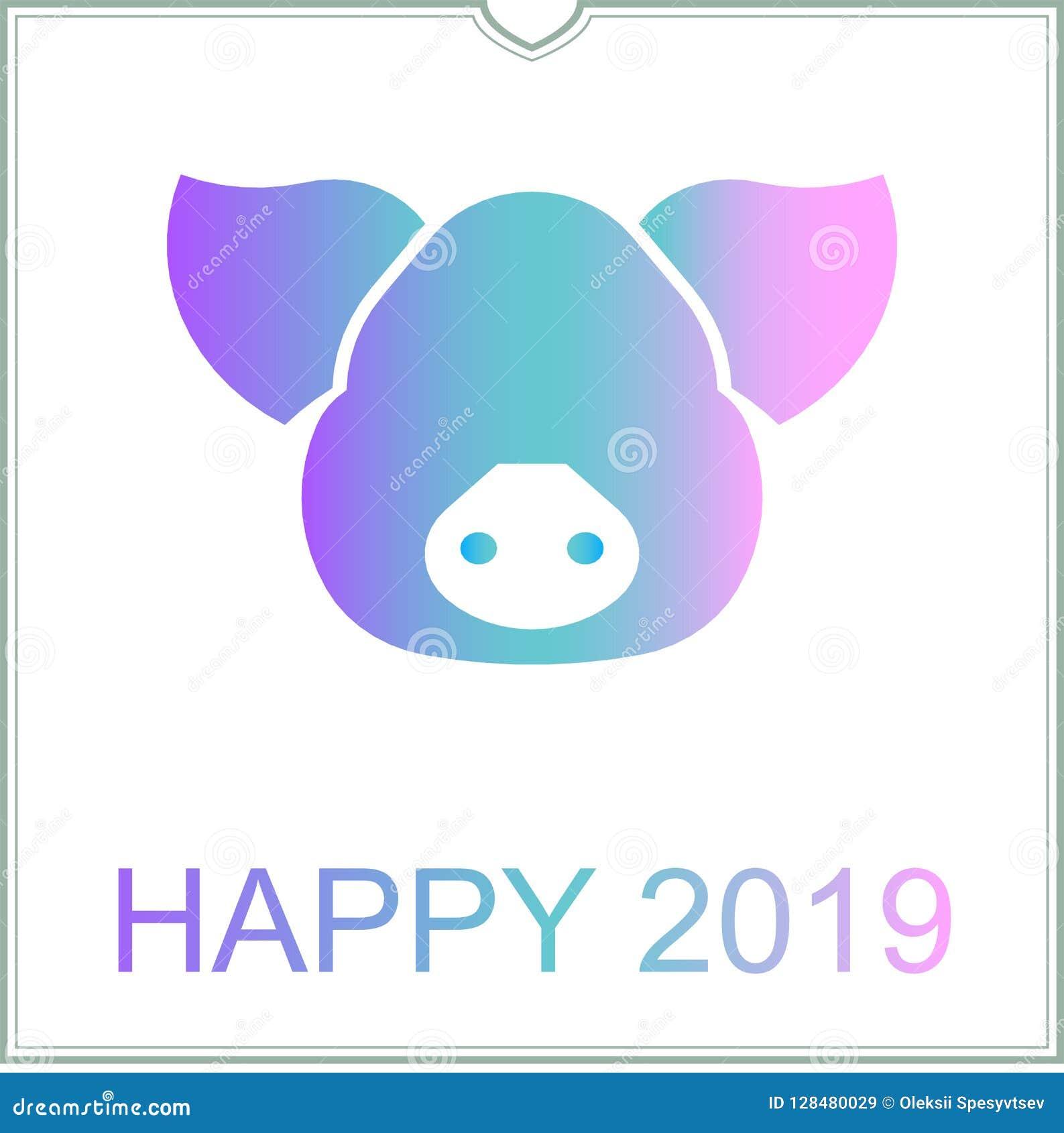 Calendario Giapponese Animali.Cartolina D Auguri 2019 L Anno Del Buon Anno Di Maiale In