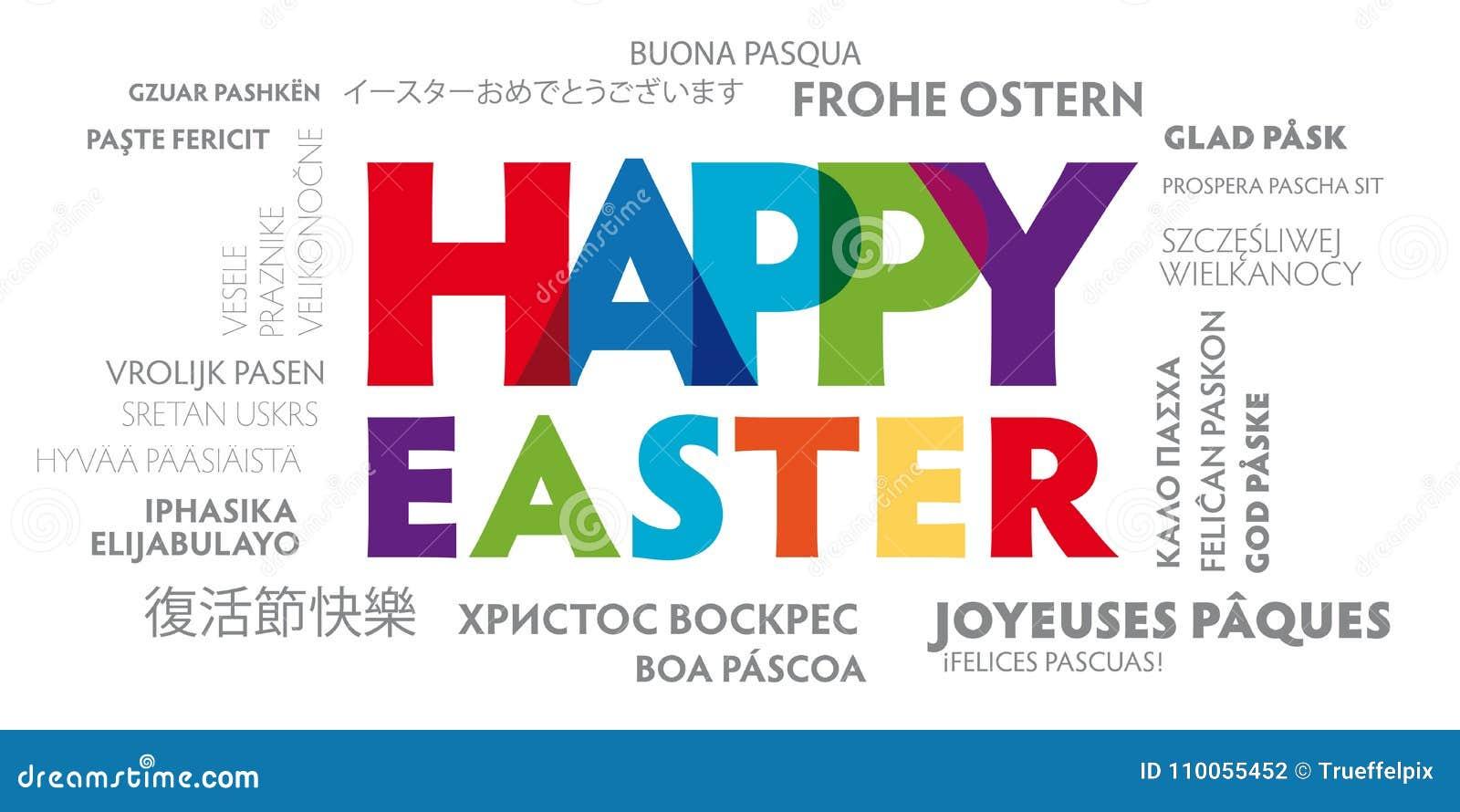 Cartolina d auguri pasqua felice multilingue con le lettere variopinte