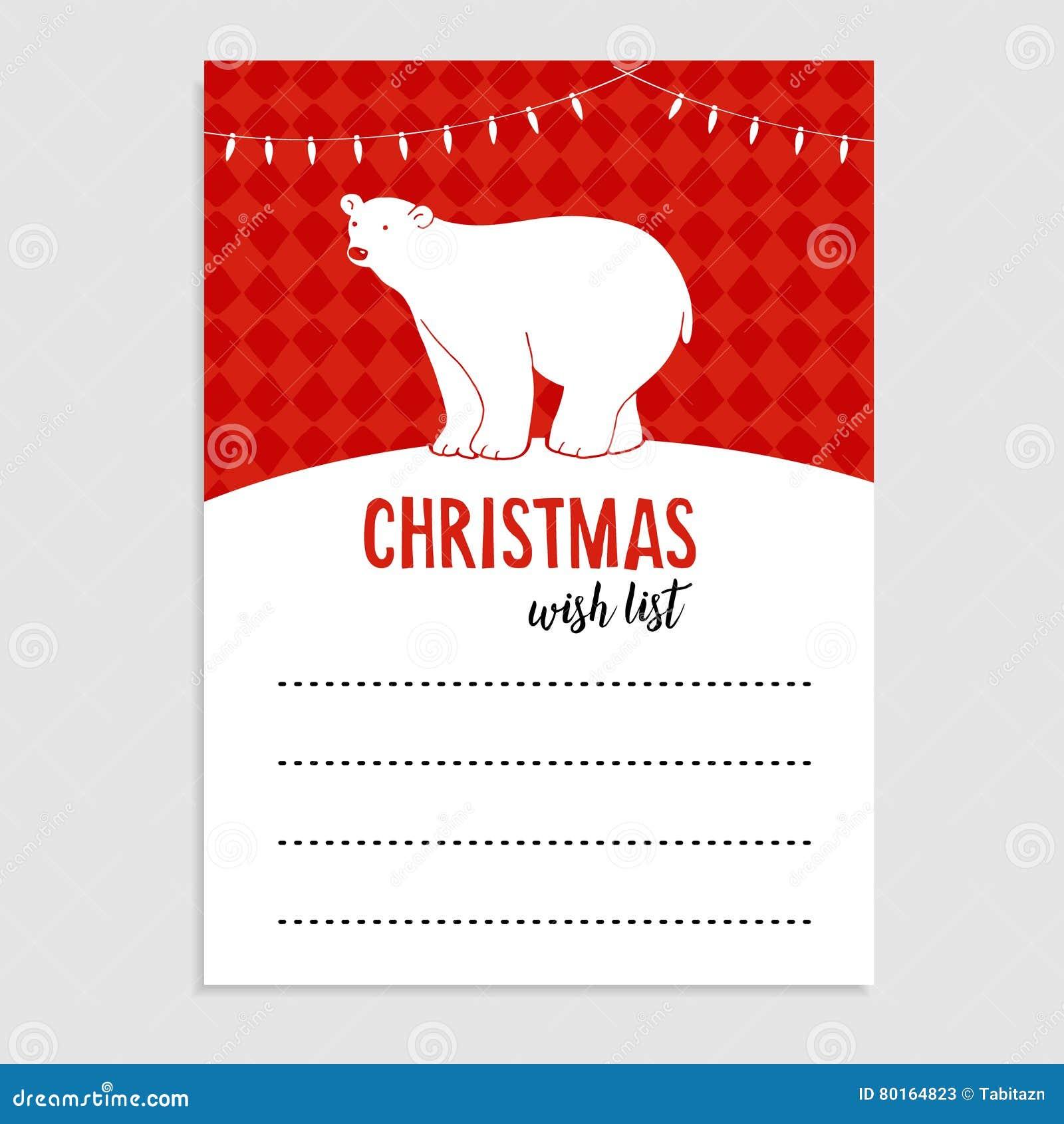 Cartolina D Auguri Sveglia Di Natale Orso Polare Della Lista Di