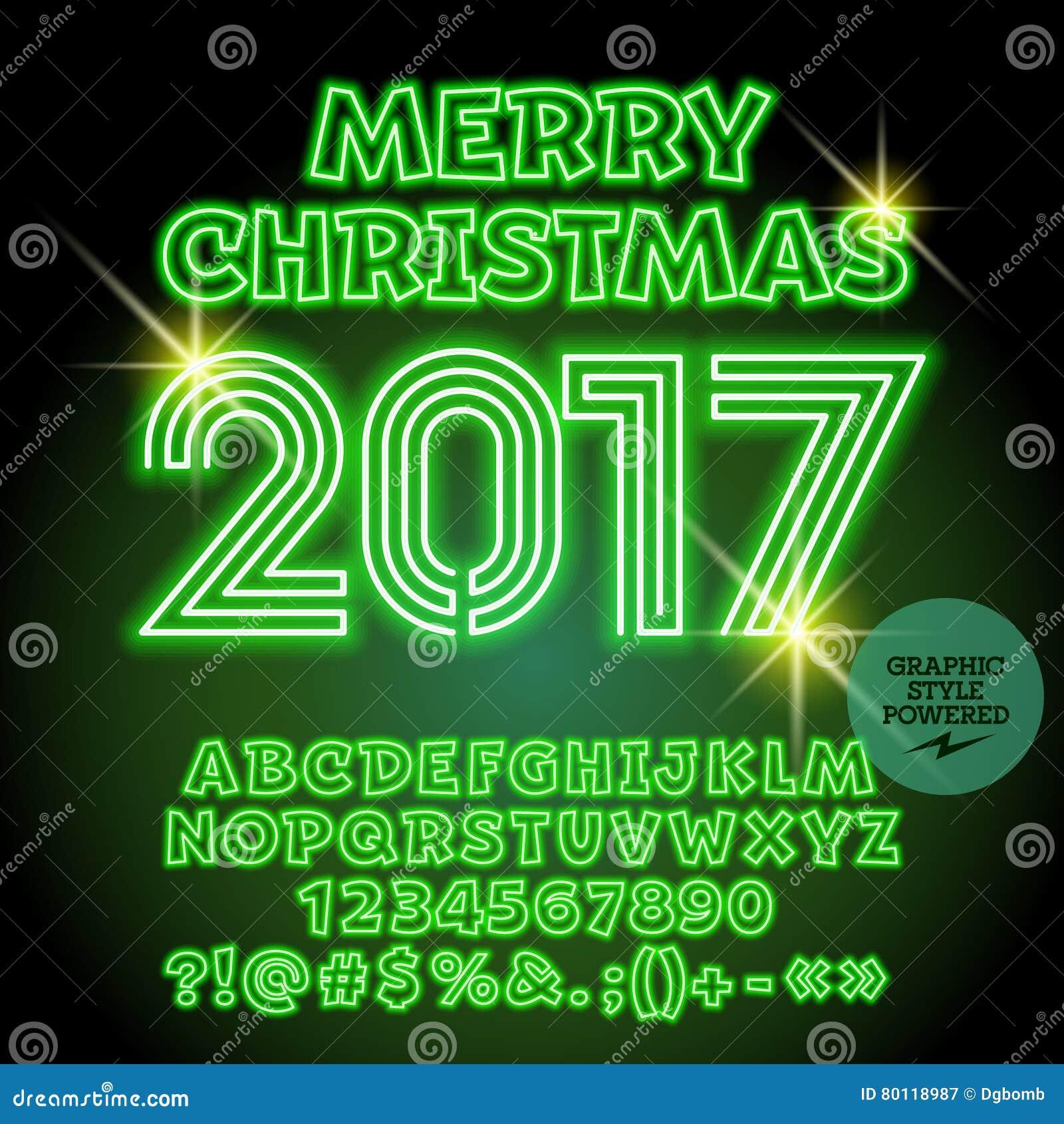 Auguri Di Buon Natale Alla Famiglia.Cartolina D Auguri 2017 Verde Al Neon Di Buon Natale Di Vettore