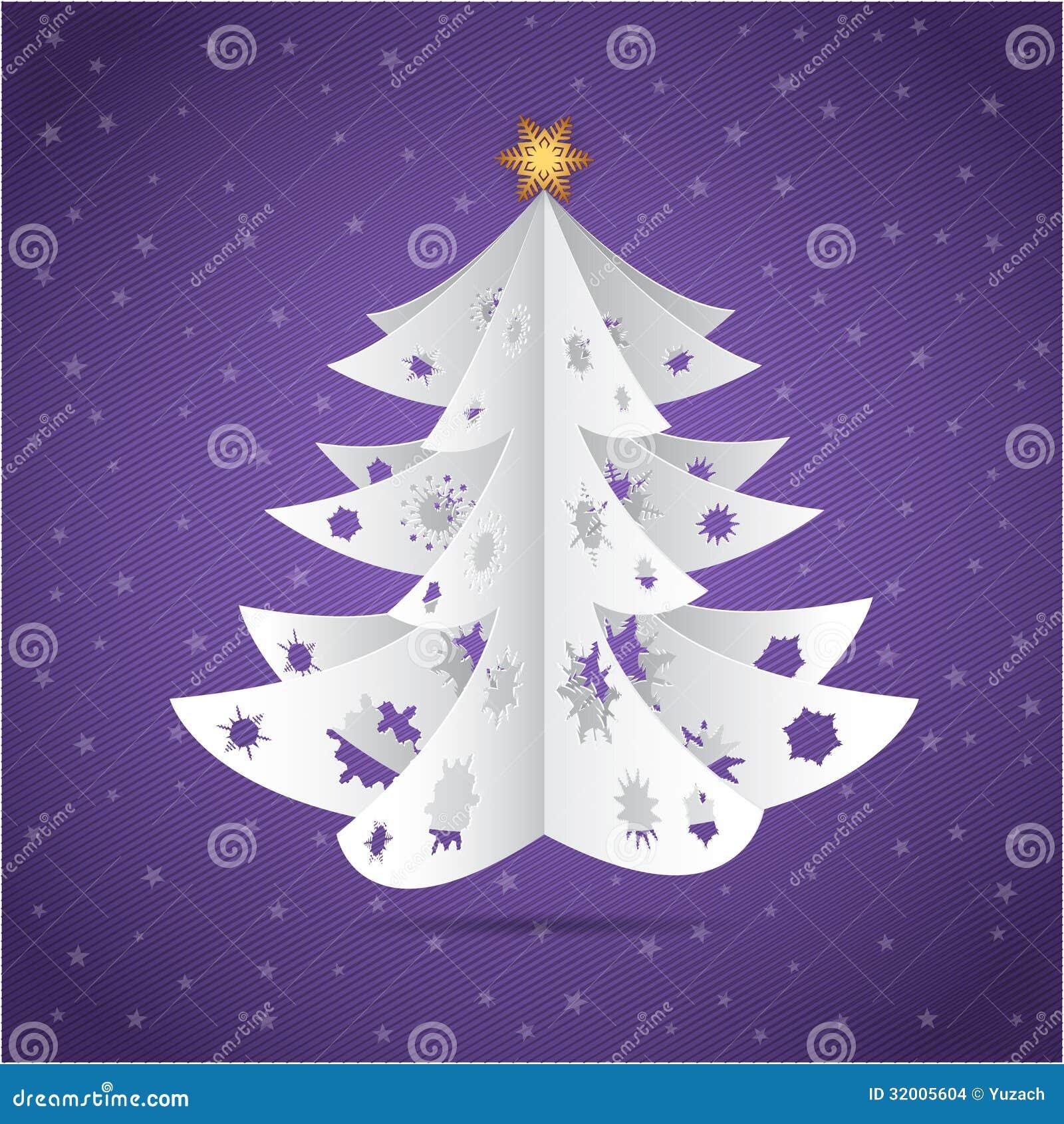 Cartolina di carta dell 39 albero di natale di origami for Alberi di natale di carta