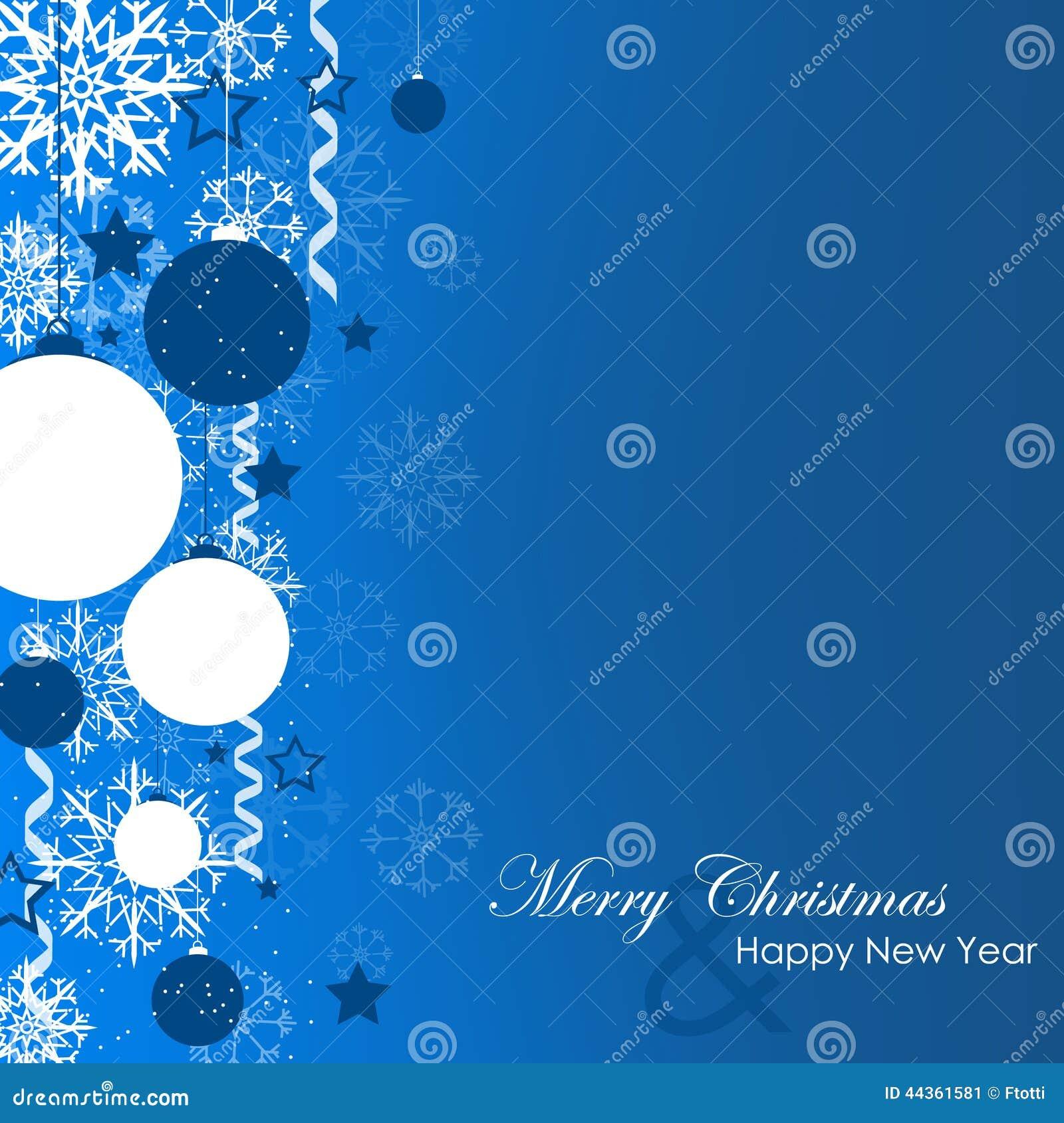 Cartolina di Natale con i fiocchi di neve e le palle di natale su un fondo blu