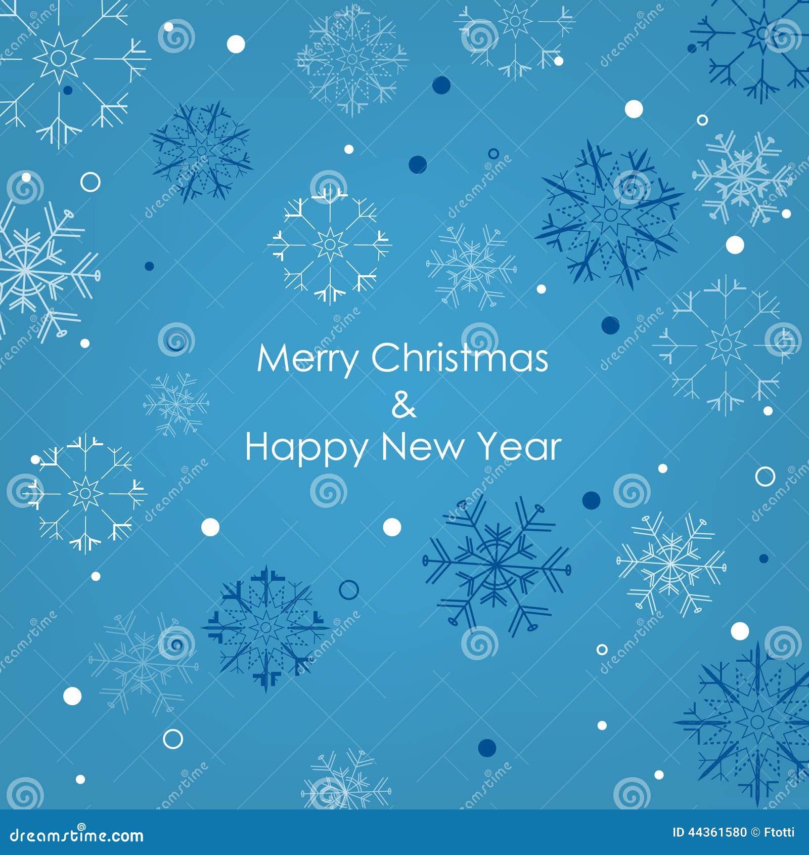 Cartolina di Natale con i fiocchi di neve su un fondo blu